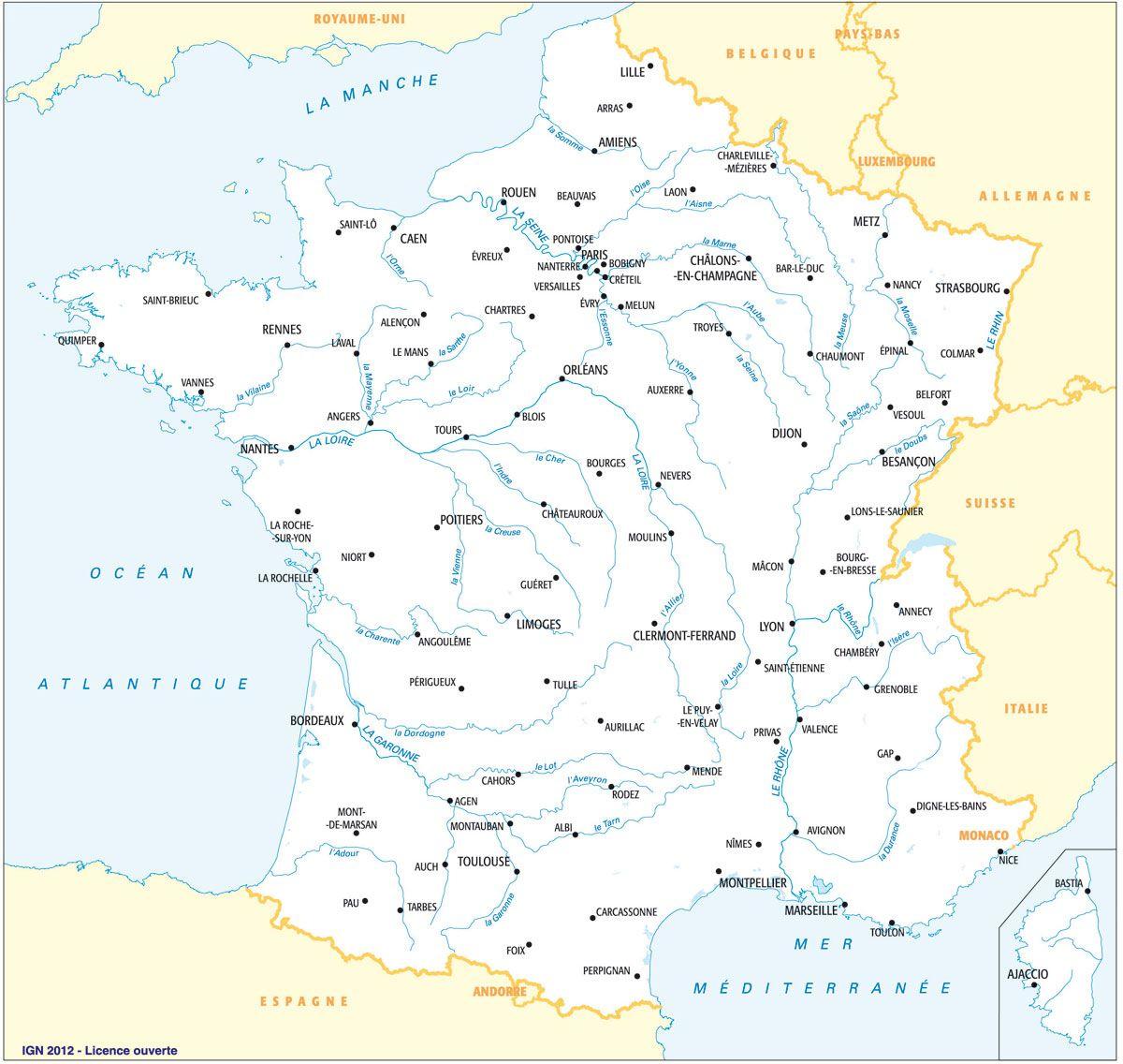 Fleuves Principaux Et Préfectures, Avec Toponymes | Carte De concernant Carte Des Fleuves En France