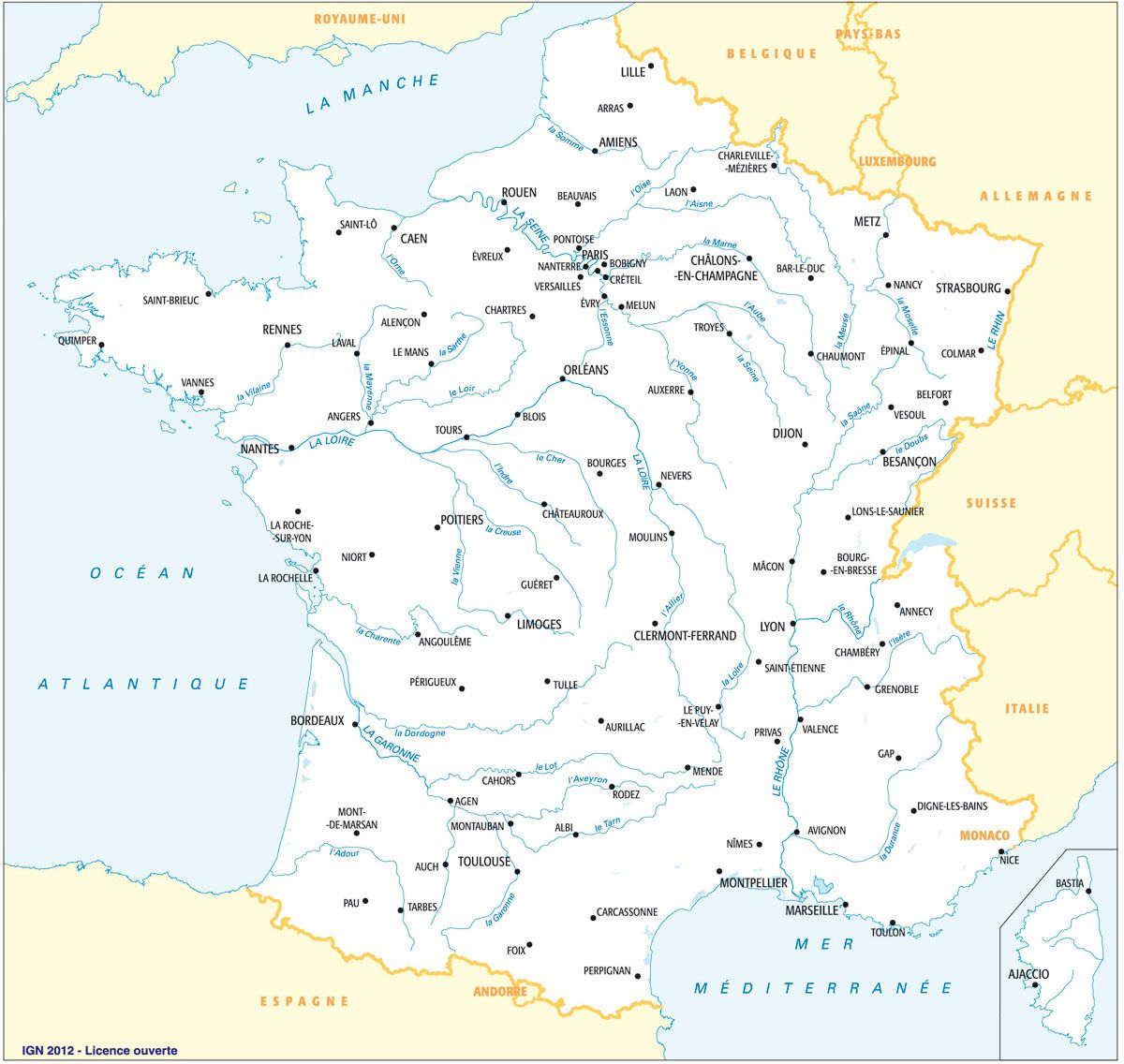 Fleuves Principaux Et Préfectures, Avec Toponymes | Carte De pour Carte Fleuve France
