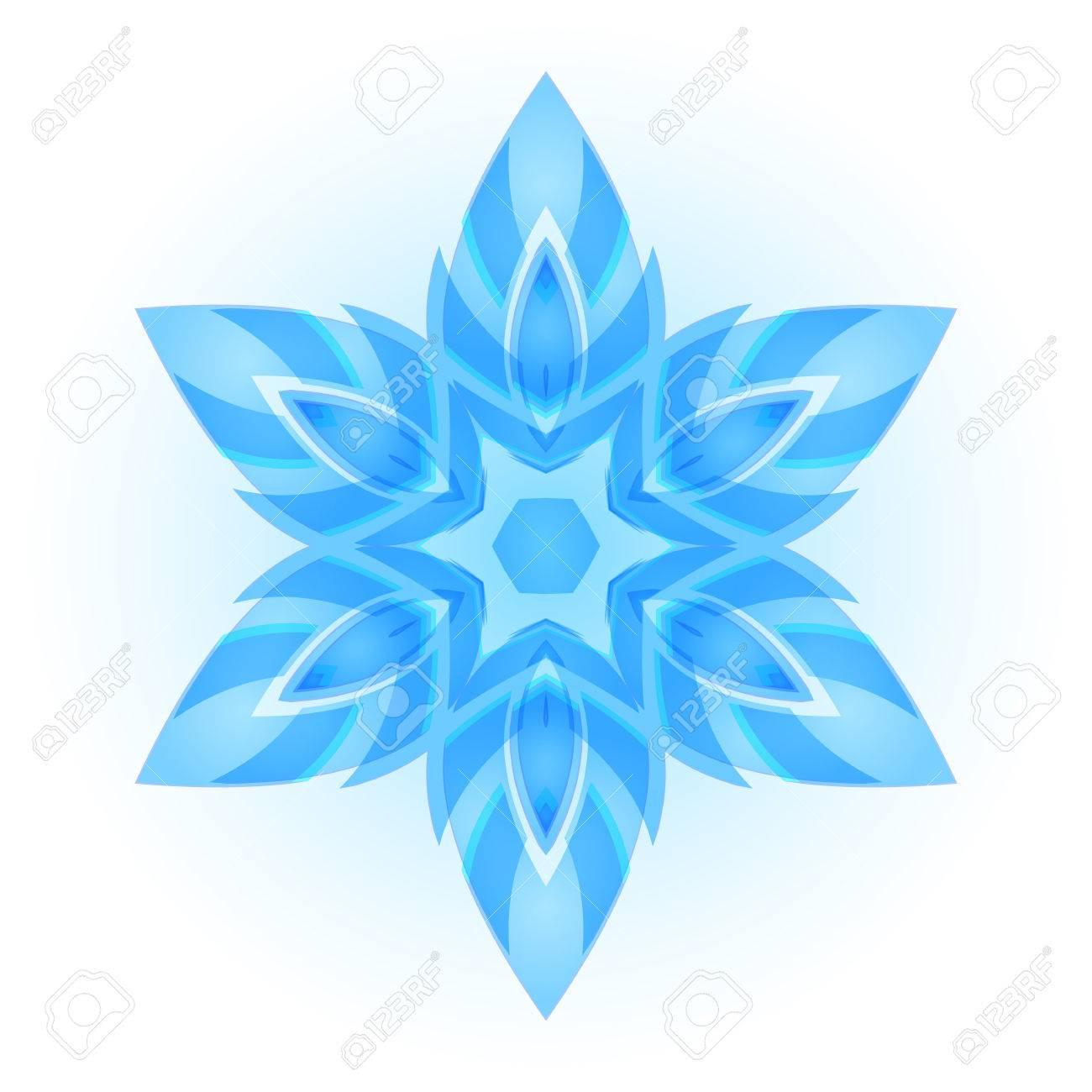 Flocon De Neige Hexagonal Bleu Clair, La Symétrie. Fond Blanc. pour Arts Visuels Symétrie