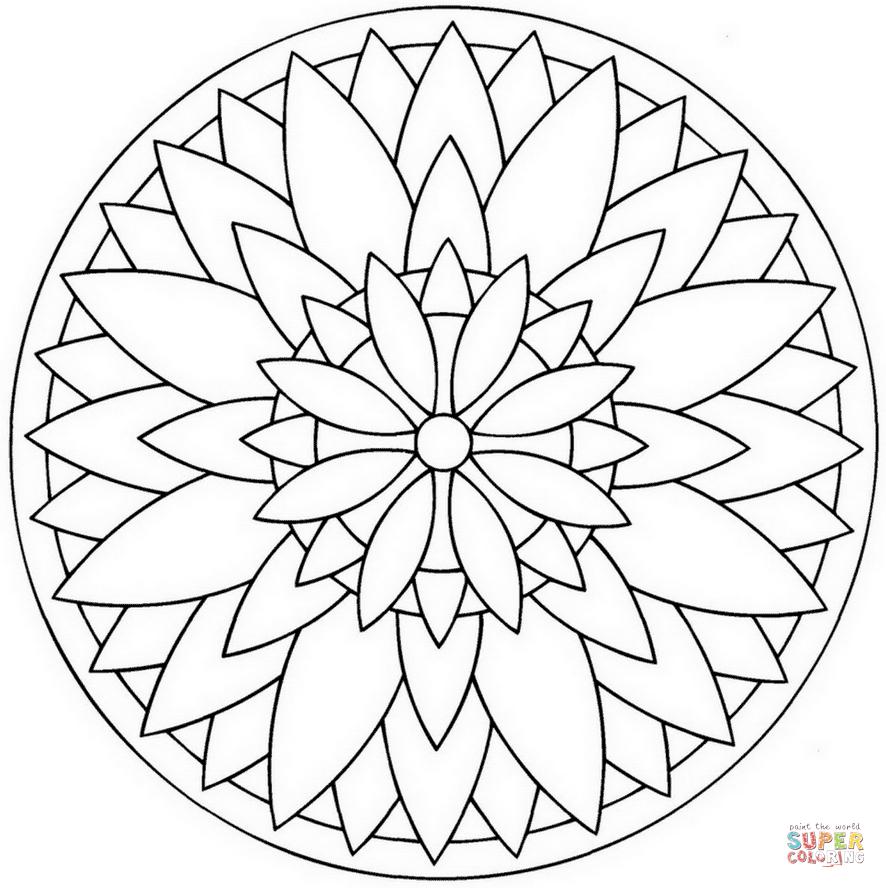 Flower Mandala   Super Coloring   Mandala À Colorier encequiconcerne Rosace A Imprimer