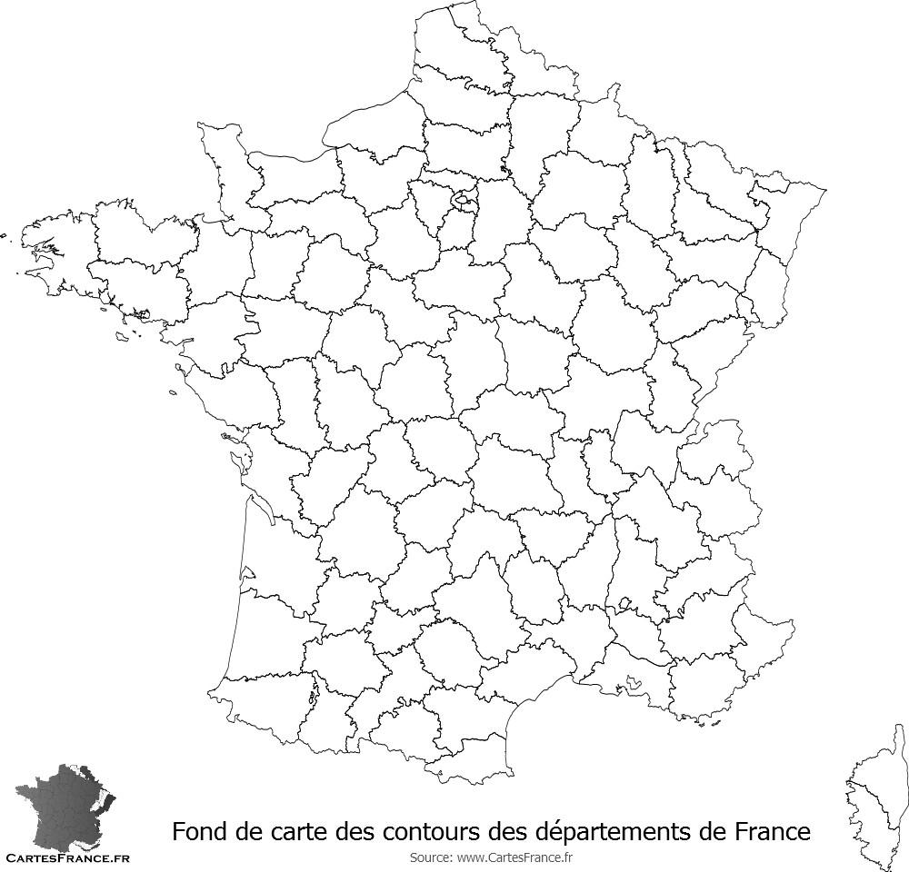 Fond De Carte Des Contours Des Départements De France destiné Carte De France Numéro Département