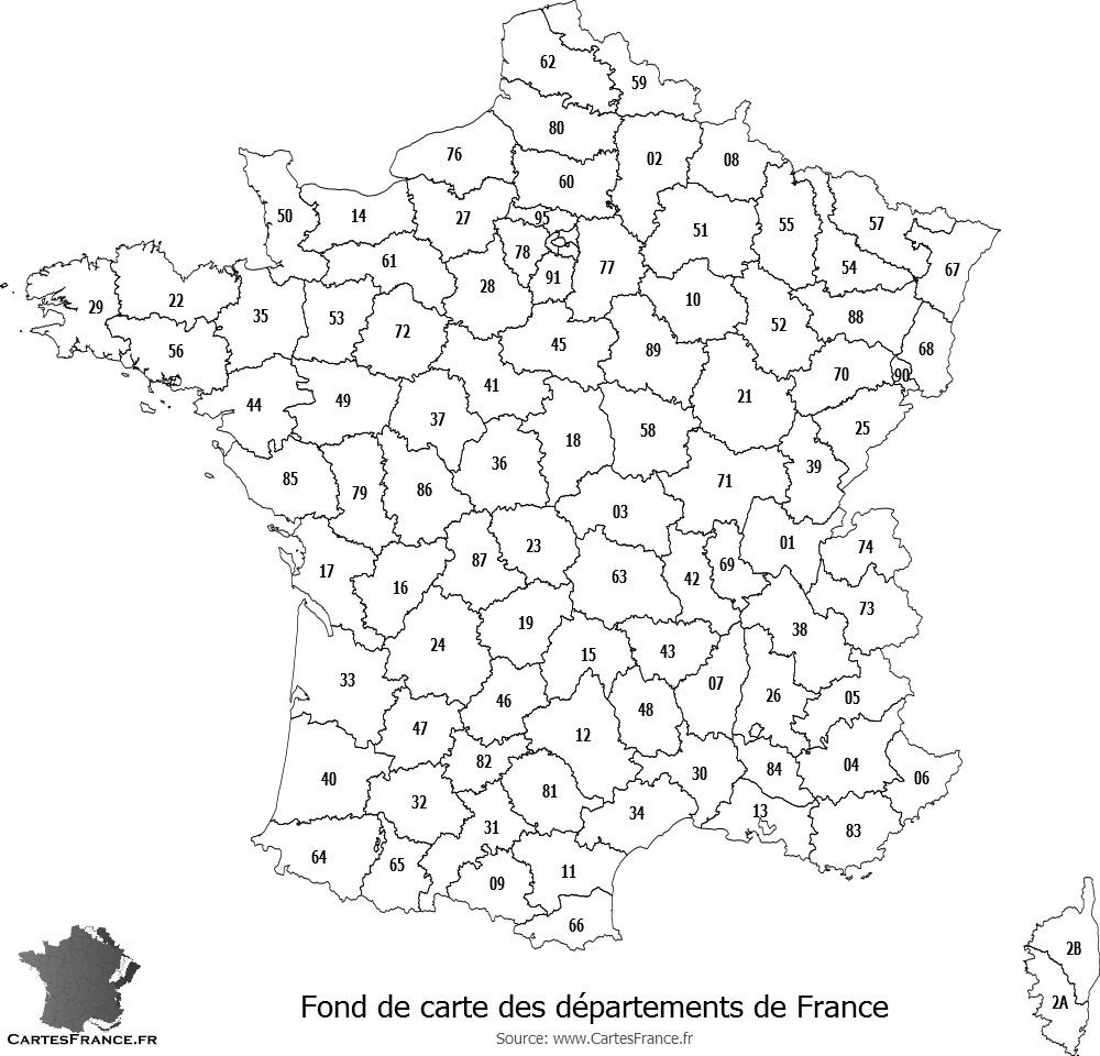 Fond De Carte Des Départements De France à Carte De France Numéro Département
