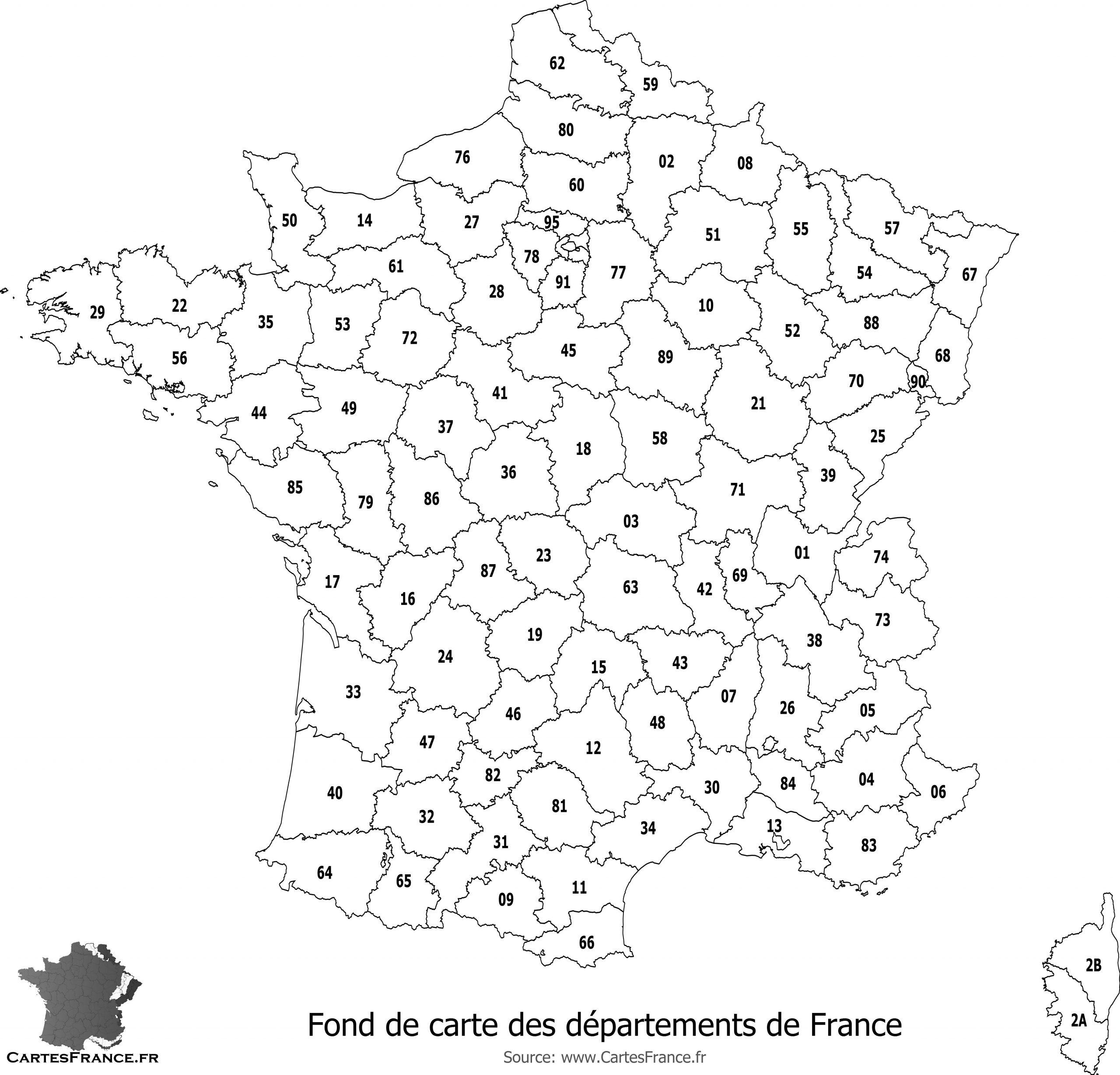 Fond De Carte Des Départements De France avec Numéro Des Départements