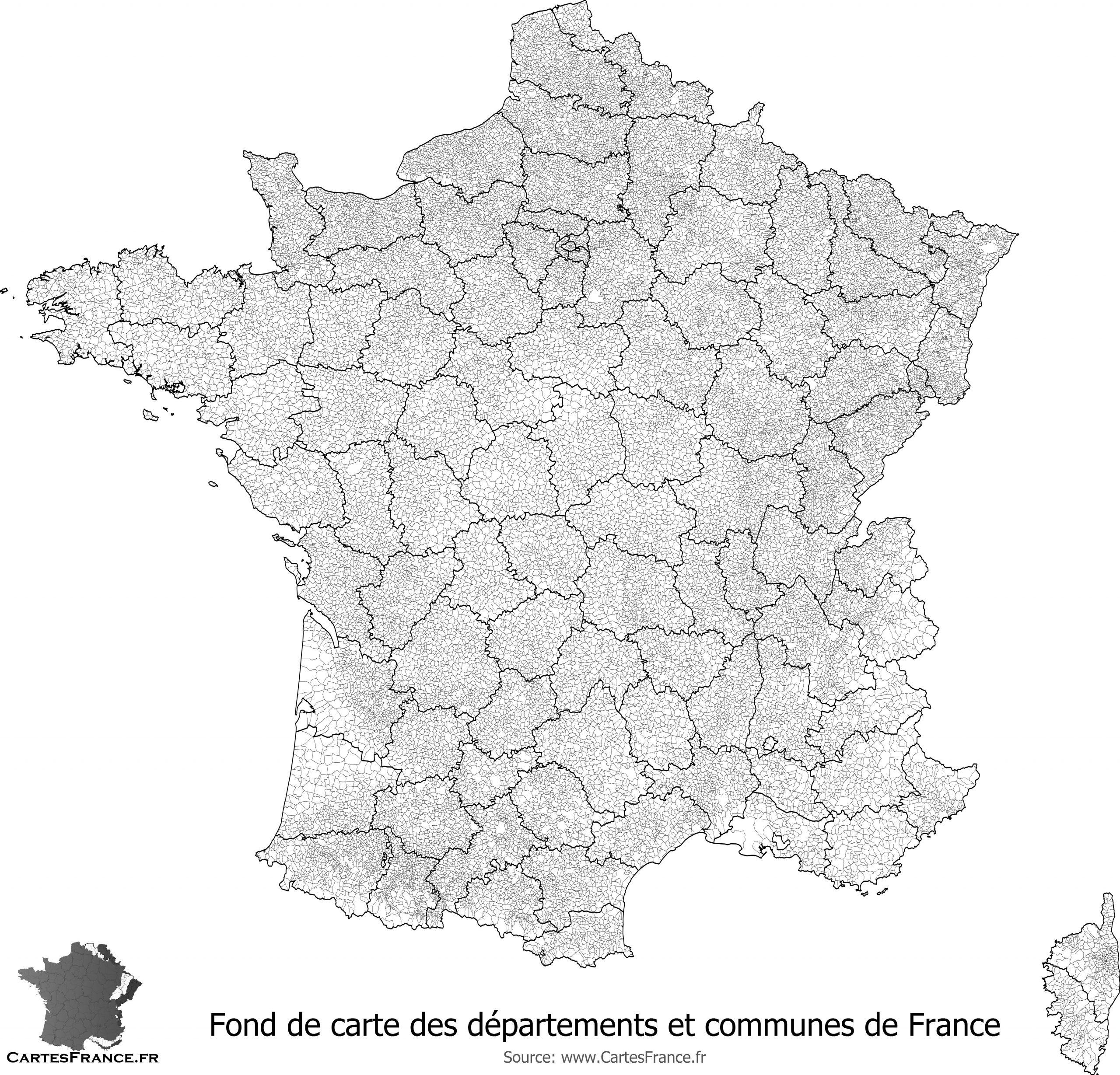 Fond De Carte Des Départements Et Communes De France tout Carte De France Numéro Département