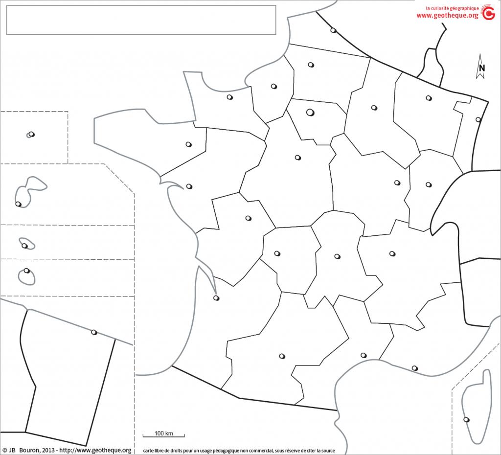 Fond De Carte France Avec Drom, Régions, Chefs-Lieux | Fond concernant Carte Des Régions Vierge