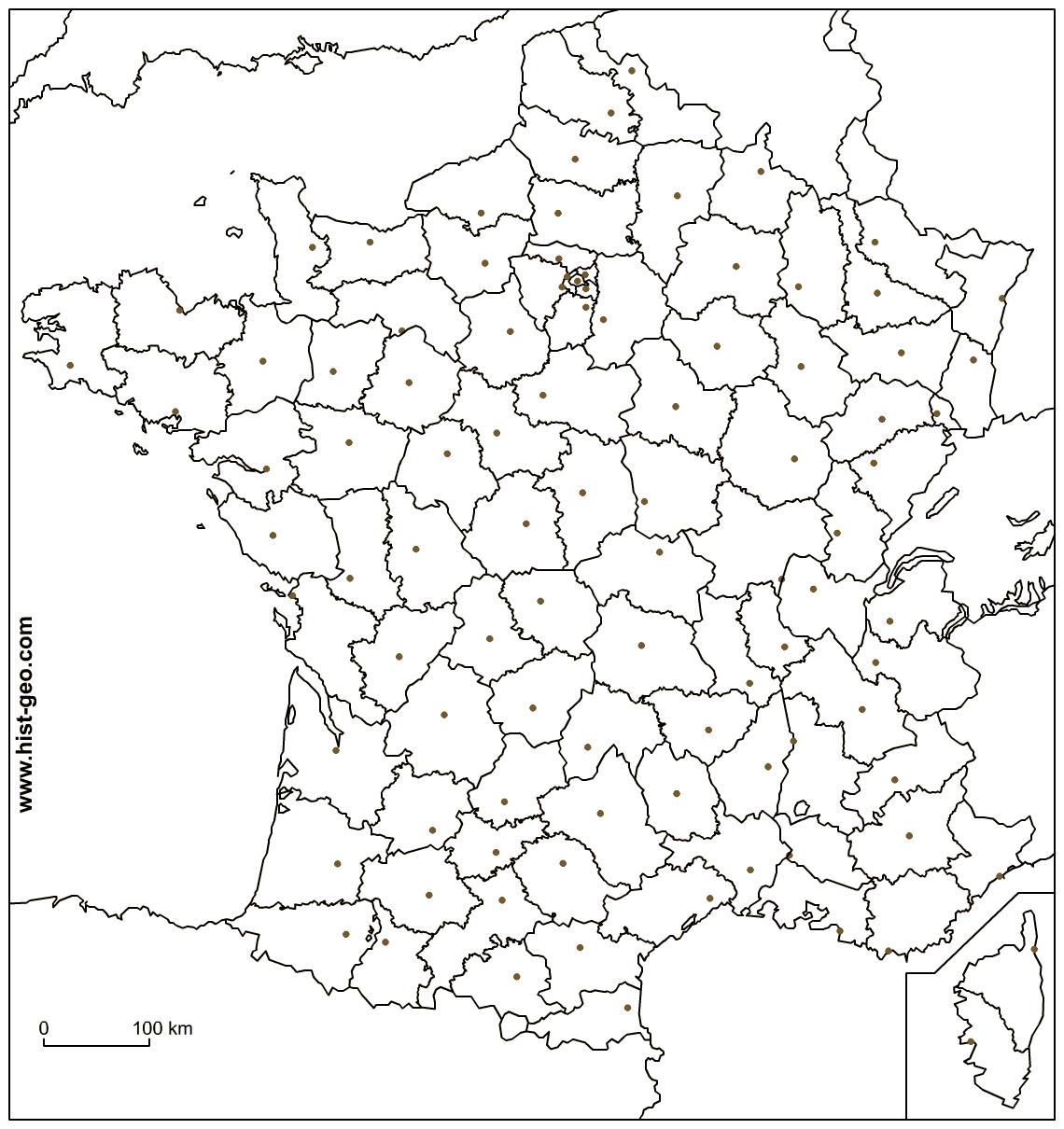 Fond De Carte - France (Frontières, Départements Et Préfectures) destiné Carte De France Avec Départements Et Préfectures