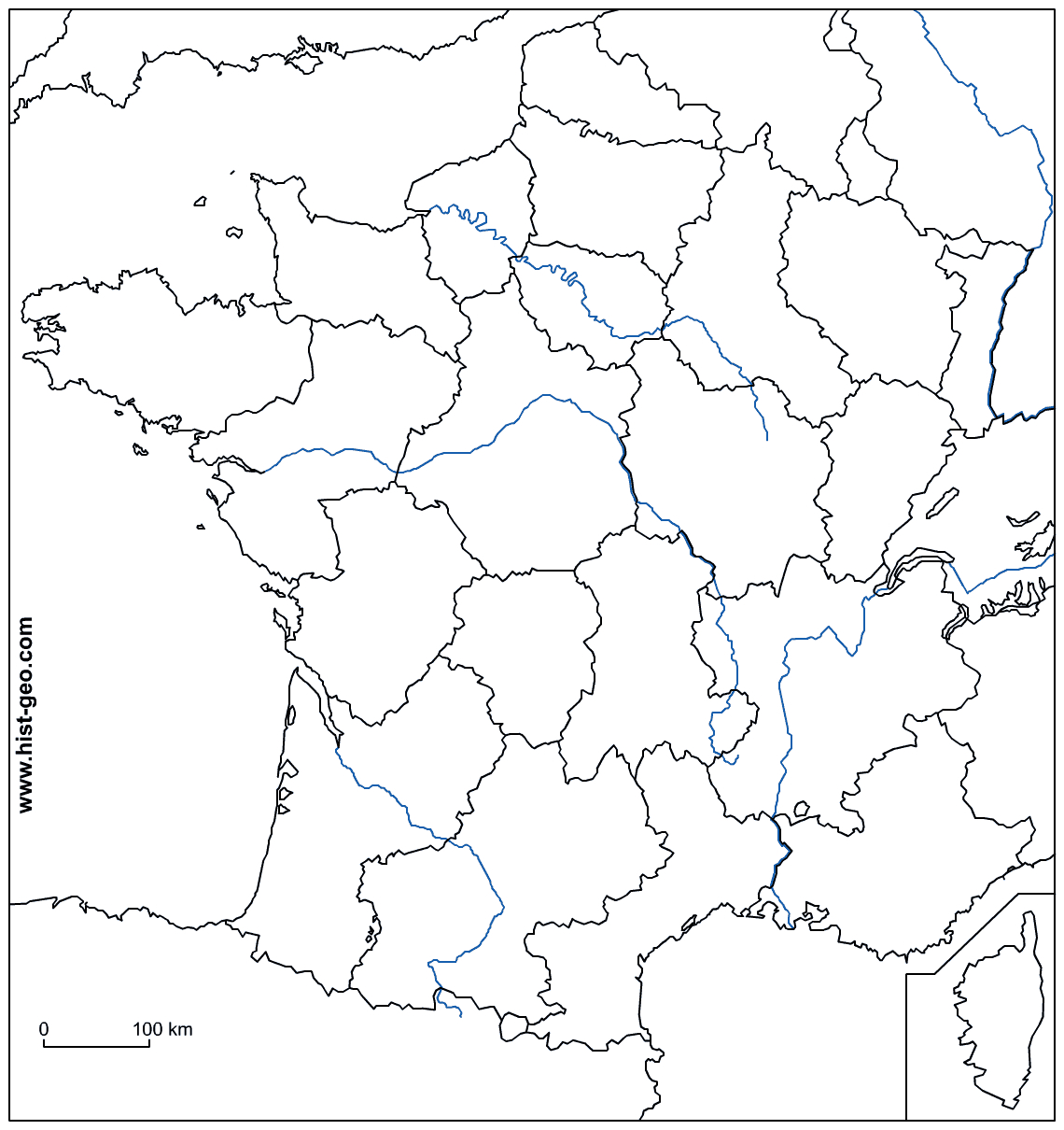Fond De Carte - France (Frontières, Fleuves Et Régions) intérieur Carte Des Fleuves En France