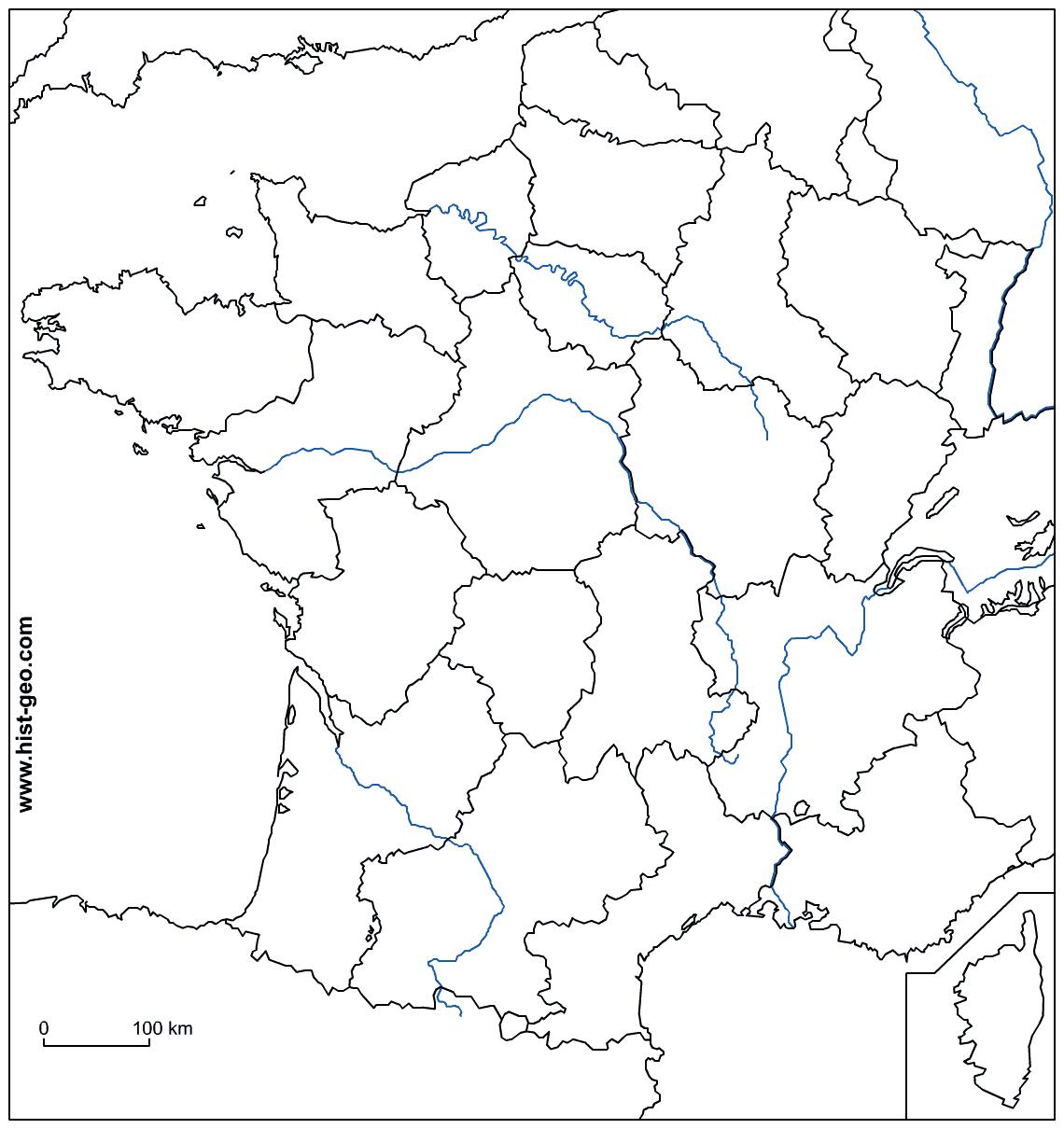 Fond De Carte - France (Frontières, Fleuves Et Régions) pour Fond De Carte France Vierge