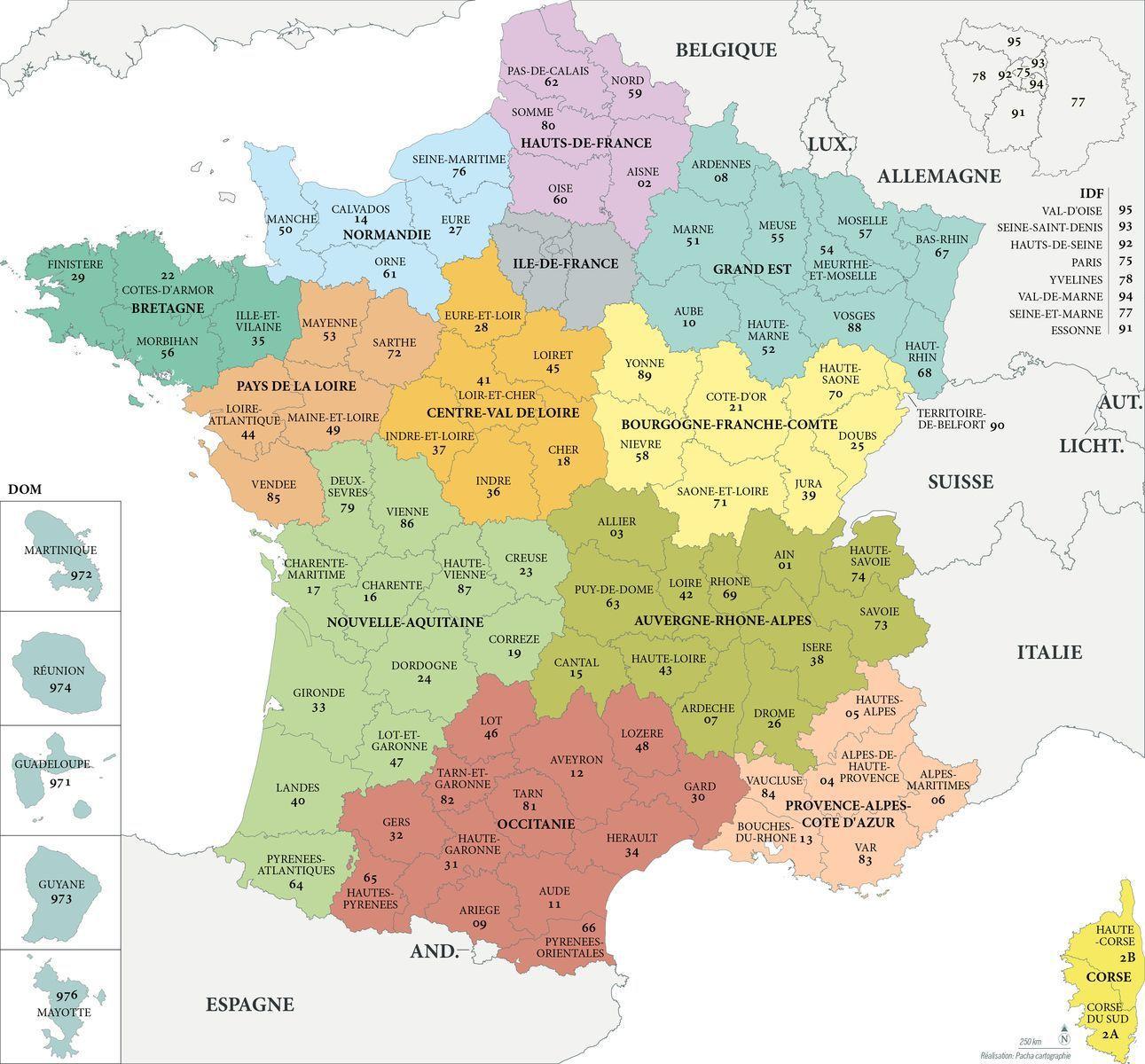 Fond De Carte France - Régions Et Départements Avec Noms tout Carte De France Des Départements