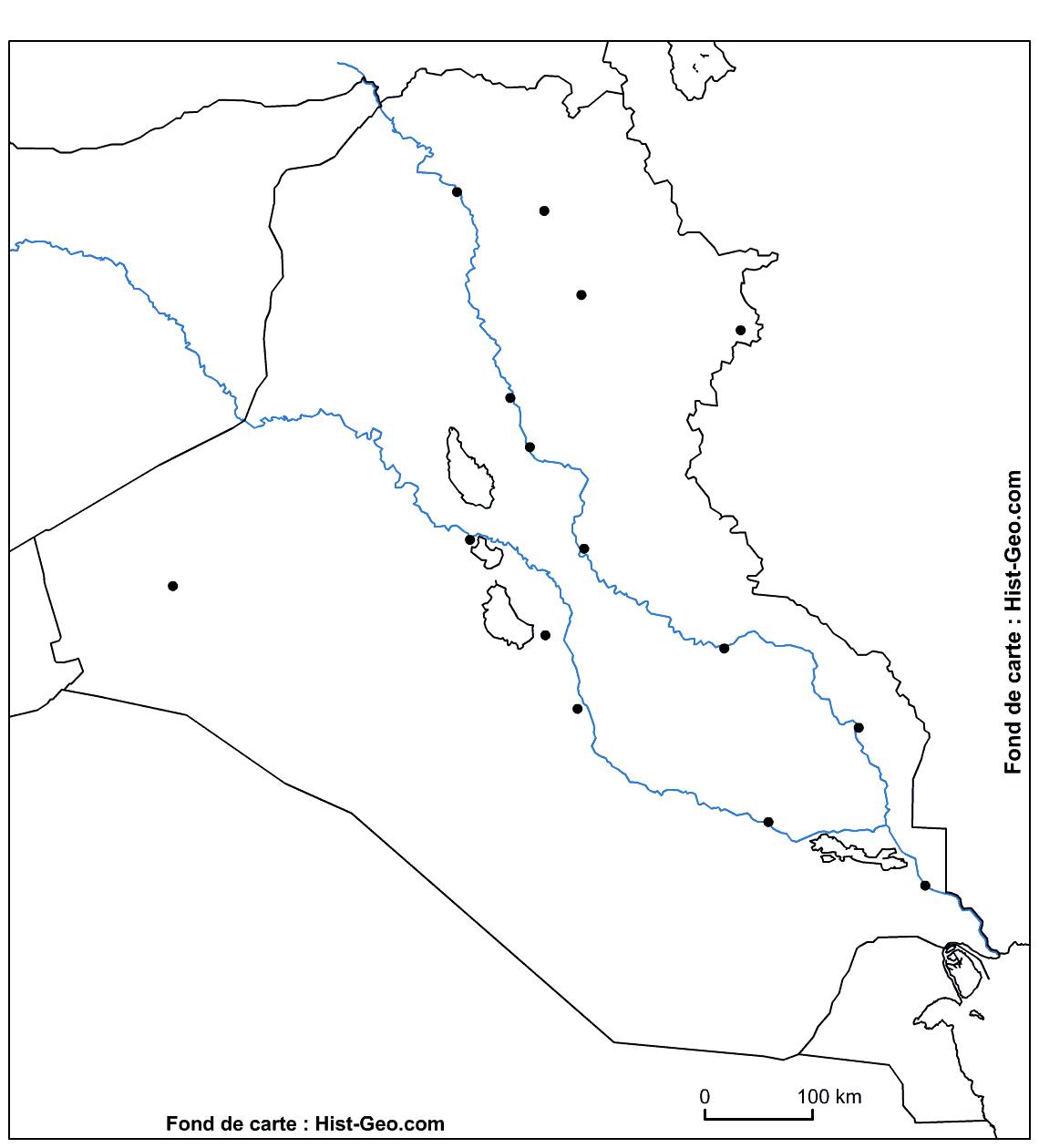 Fond De Carte Sur L'irak (Fleuves, Principales Villes) pour Carte France Vierge Villes