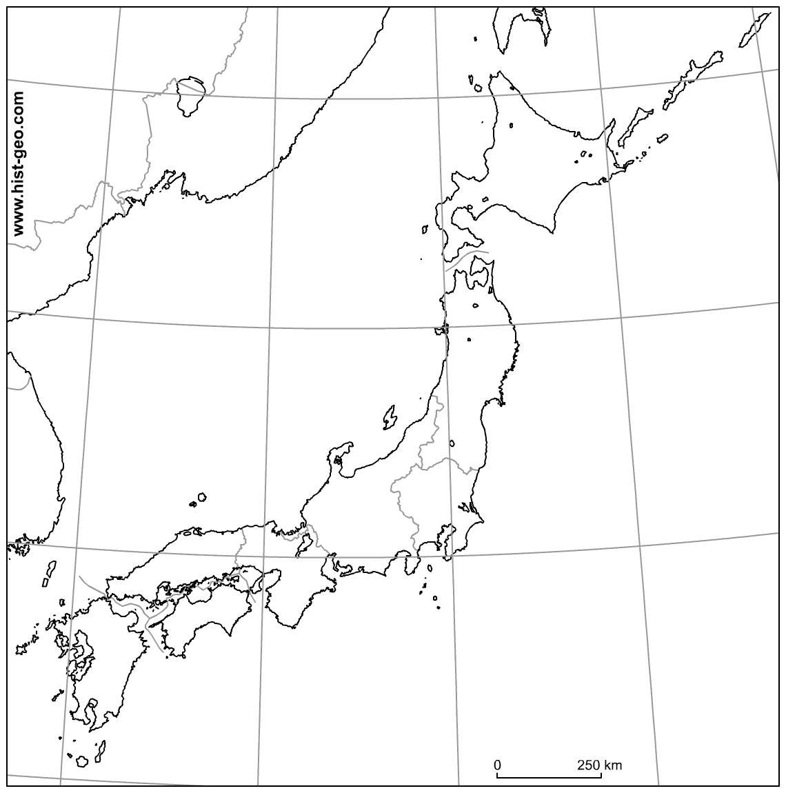 Fond De Carte Vierge Sur Le Japon (Régions, Parallèles avec Carte Des Régions Vierge