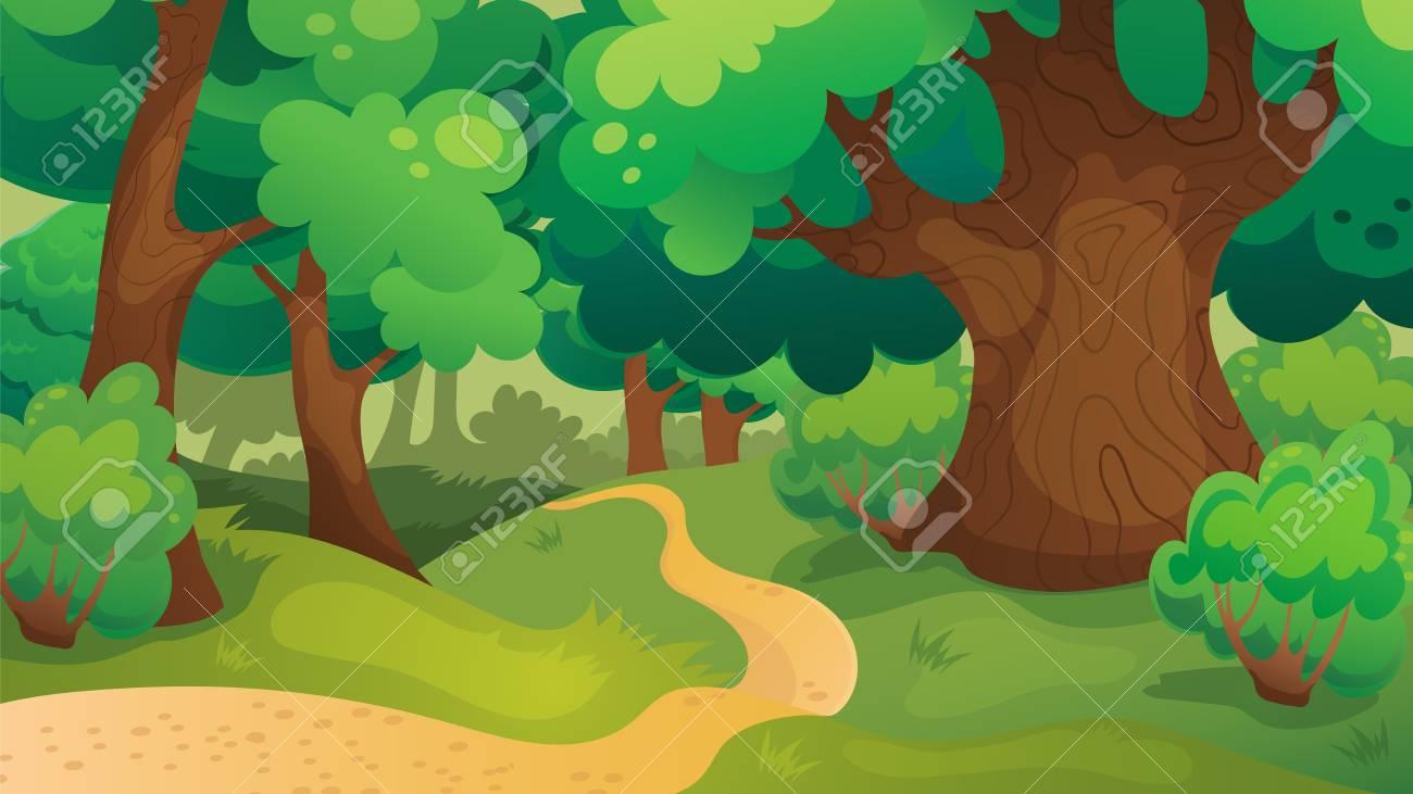 Fond De Jeu De Dessin Animé De Vecteur De Paysage De Forêt De Chêne encequiconcerne Dessin De Foret