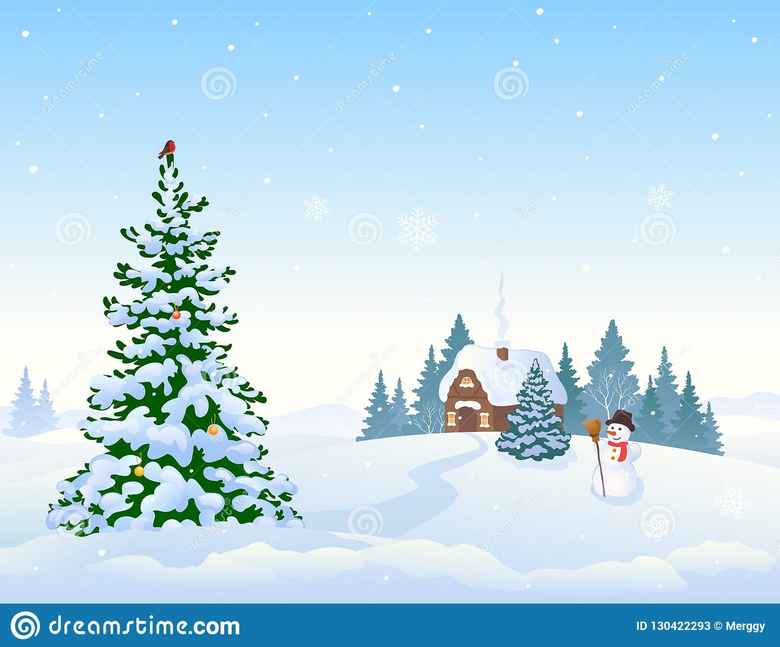Fond De Paysage D'hiver Et Arbre De Noël Illustration De encequiconcerne Dessin De Paysage D Hiver