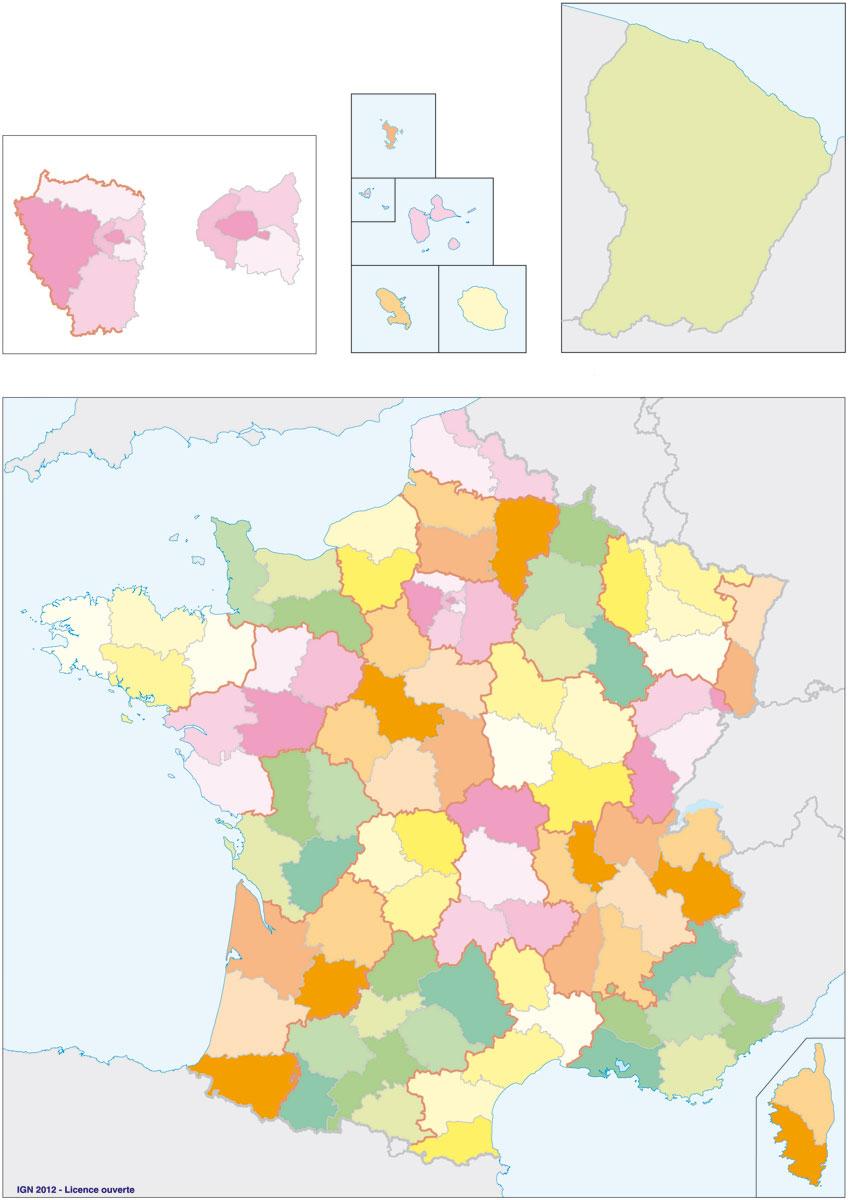 Fonds De Carte Ign France Et Régions - Data.gouv.fr tout Carte De France Avec Les Départements
