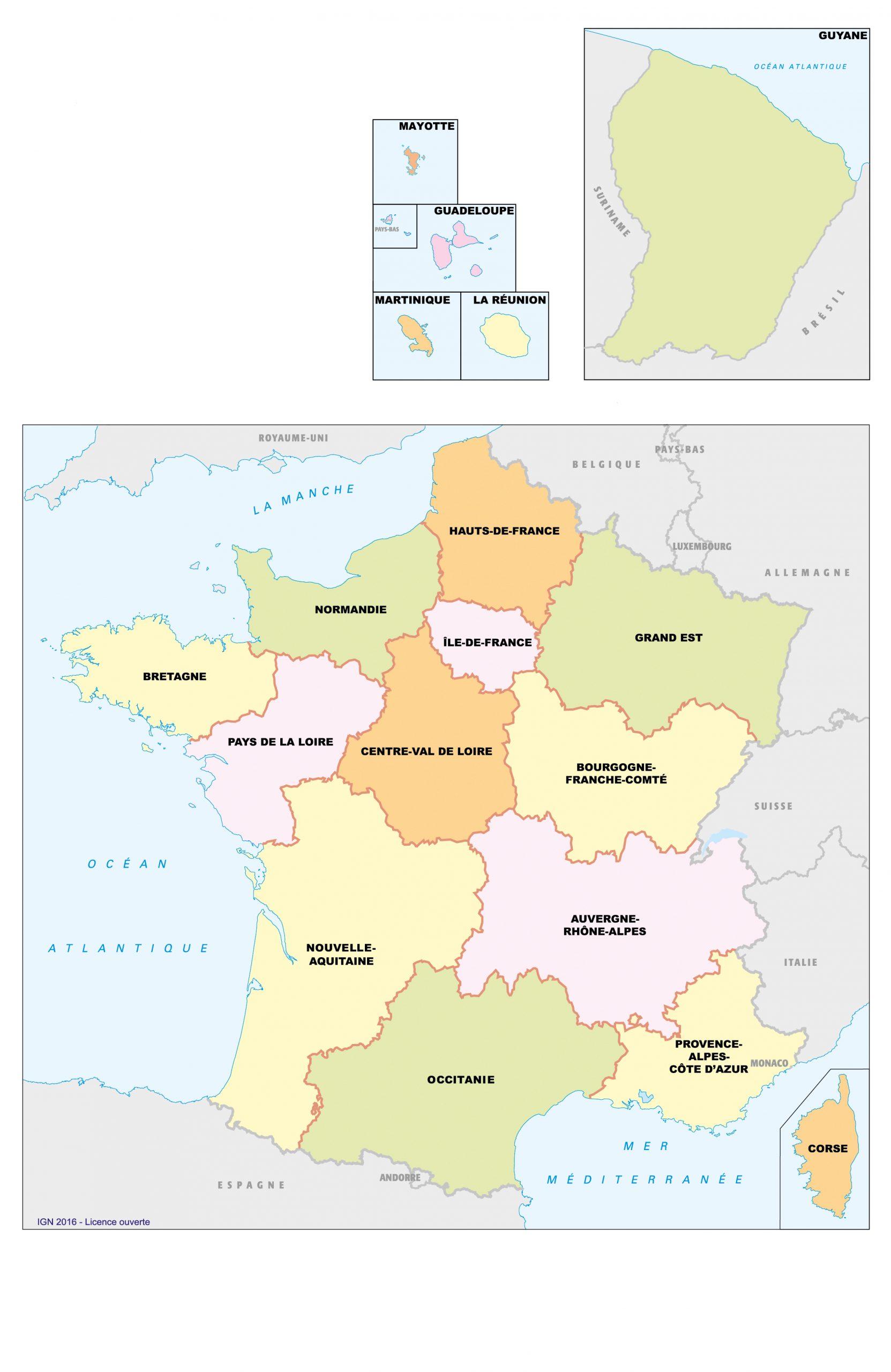 Fonds De Cartes De France, Ign | Webzine+ pour Carte De France Nouvelles Régions