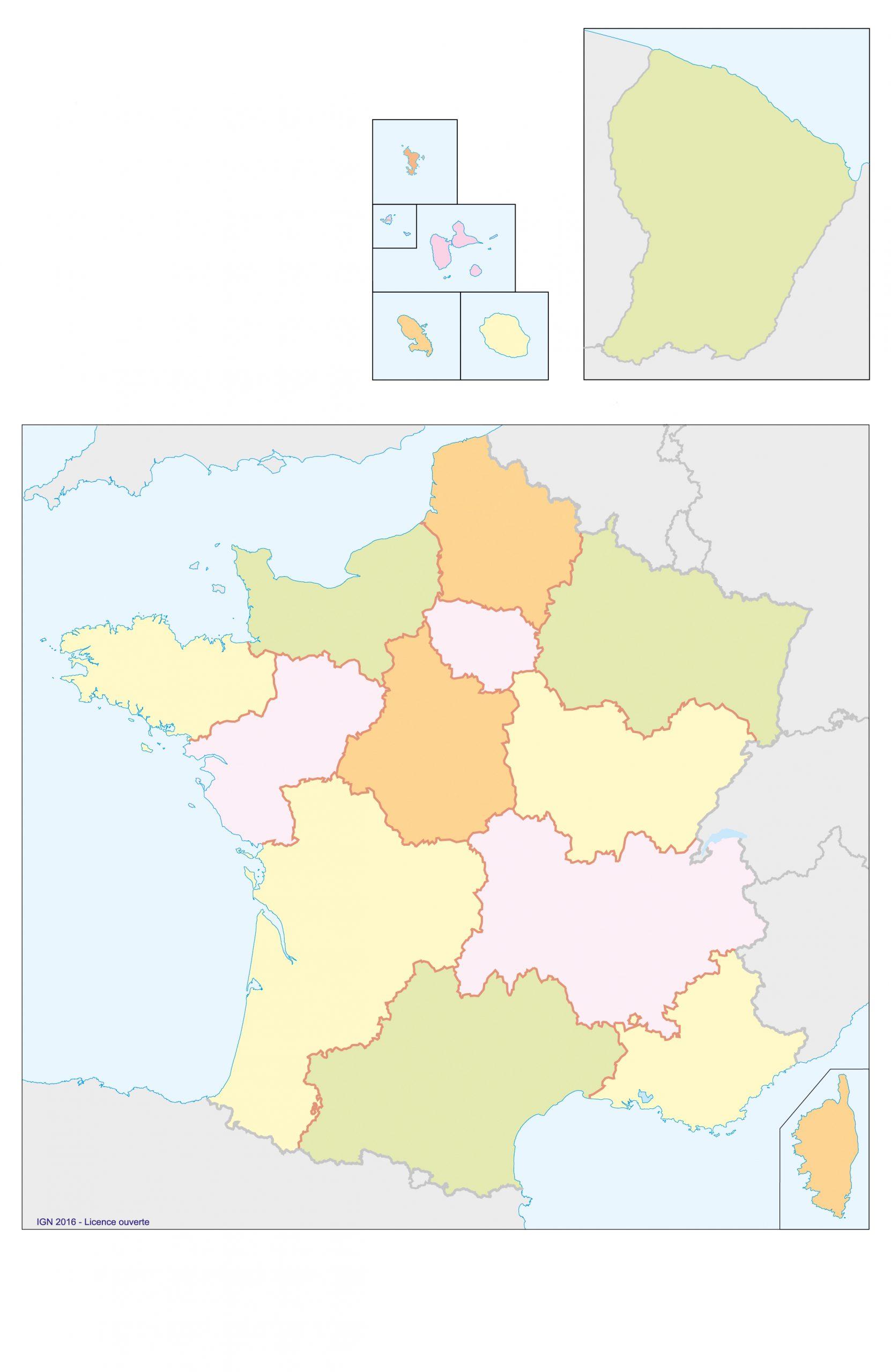 Fonds De Cartes | Éducation à Carte Des Régions De France À Imprimer