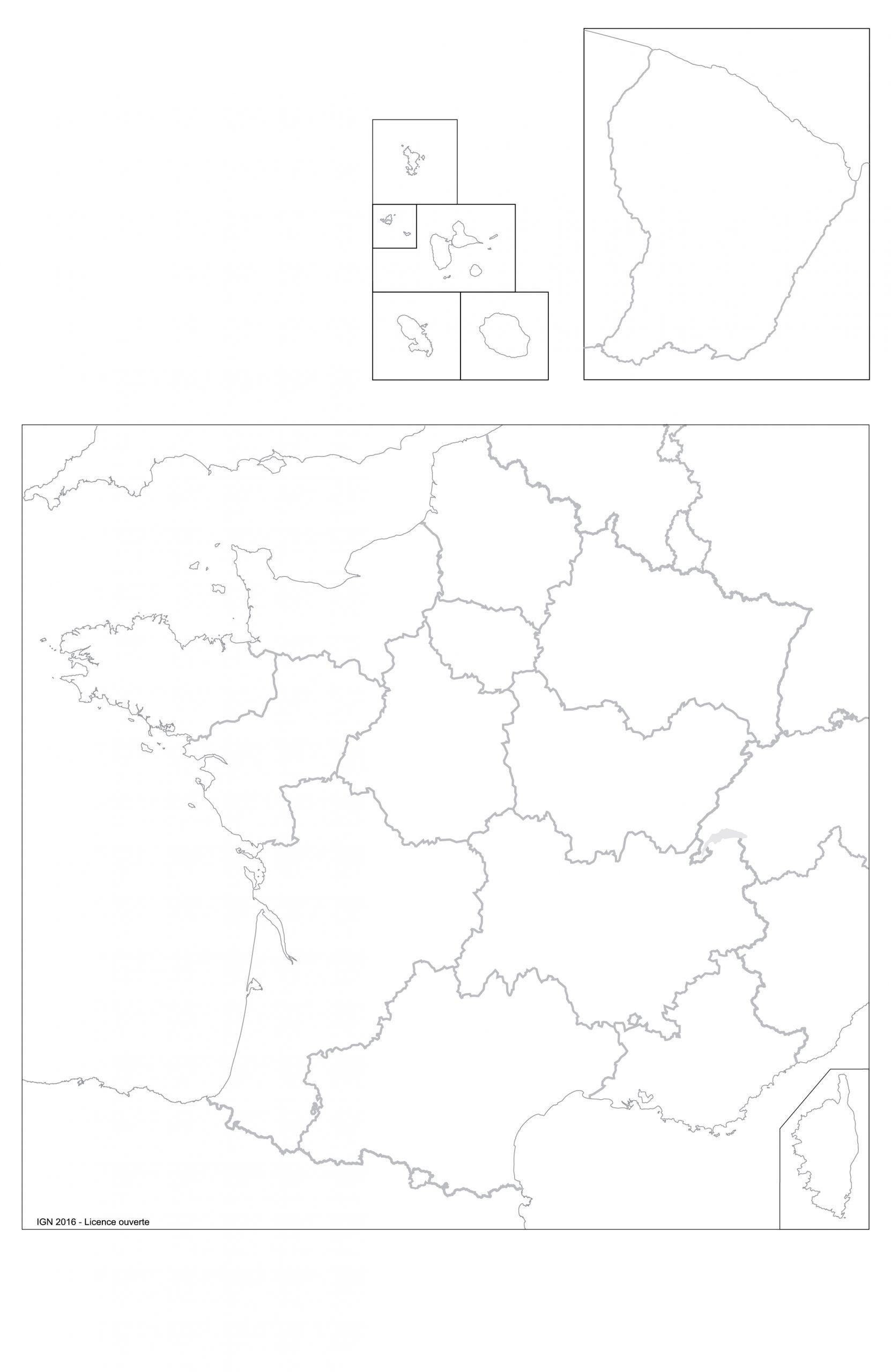 Fonds De Cartes | Éducation à Carte Vierge Des Régions De France