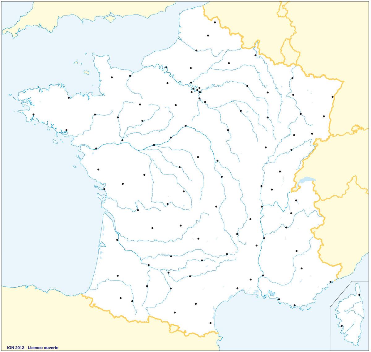 Fonds De Cartes   Éducation destiné Carte De France Avec Départements Et Préfectures