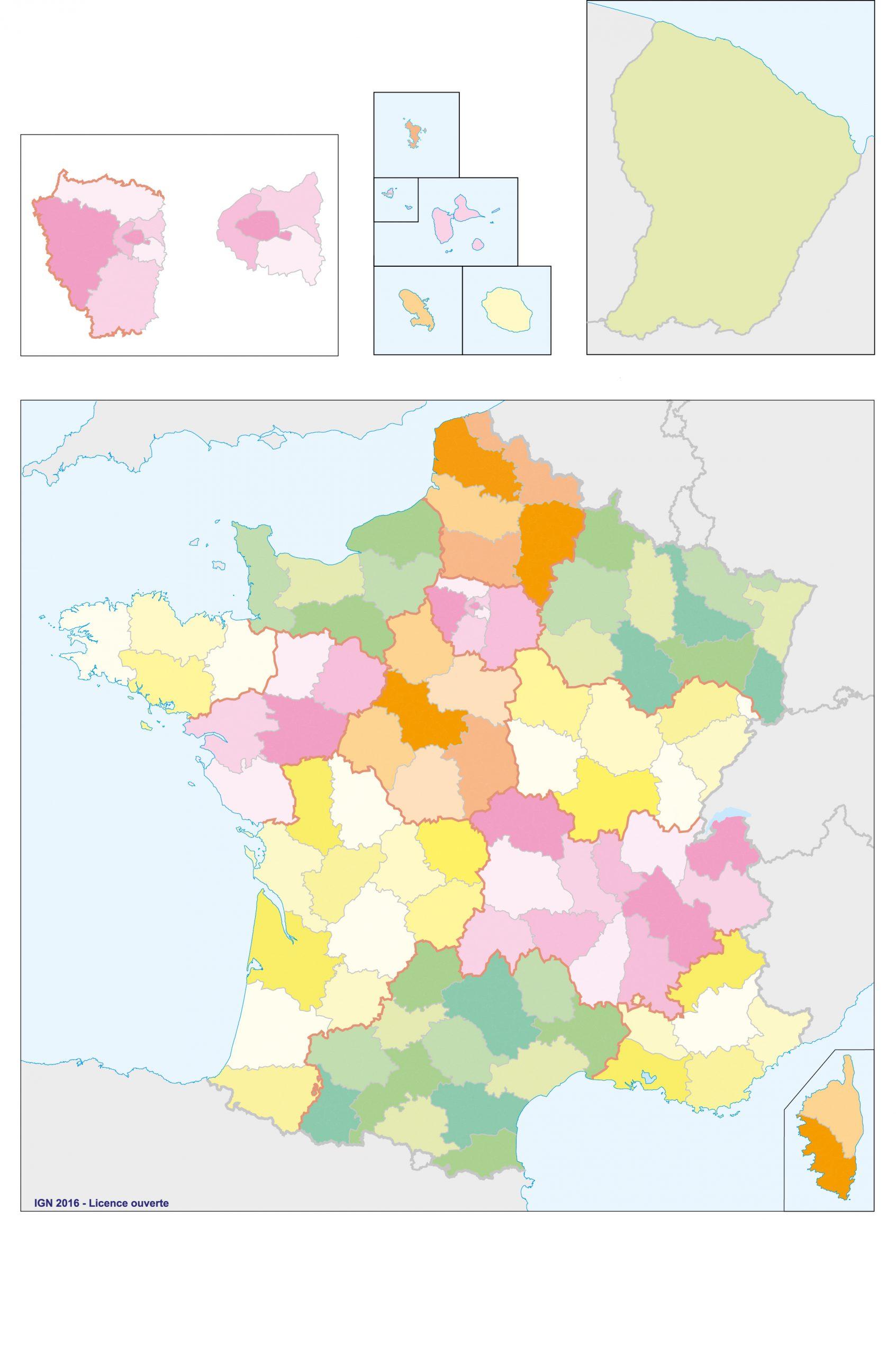 Fonds De Cartes | Éducation pour Carte Des Départements De France 2017