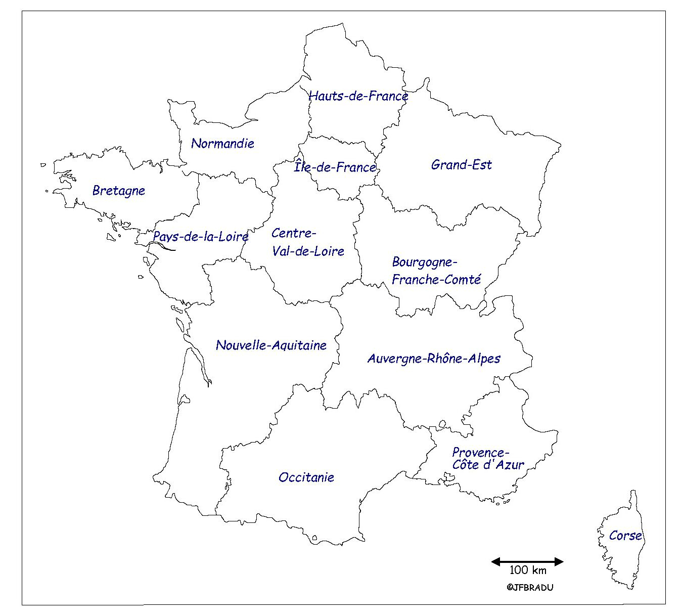Fonds De Cartes France à Carte Région France Vierge