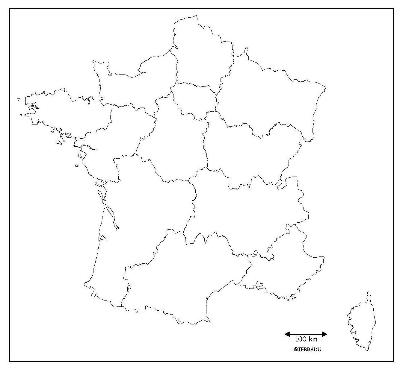 Fonds De Cartes France avec Carte Des Régions Vierge