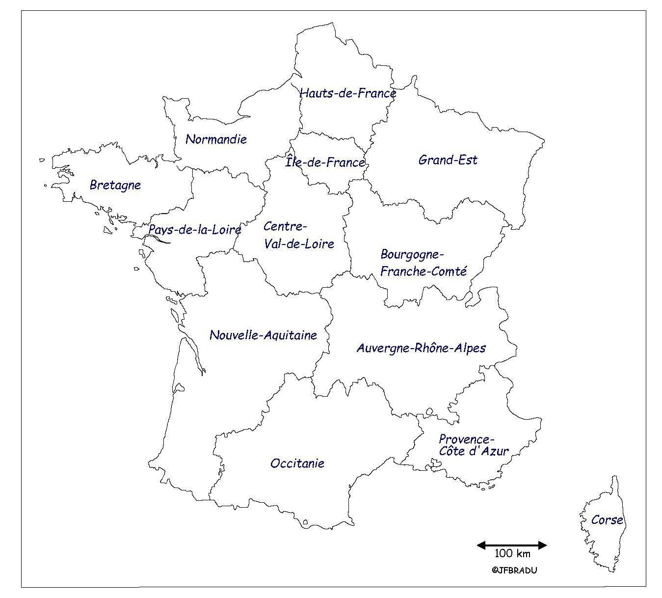 Fonds De Cartes France intérieur Carte Des Régions À Compléter