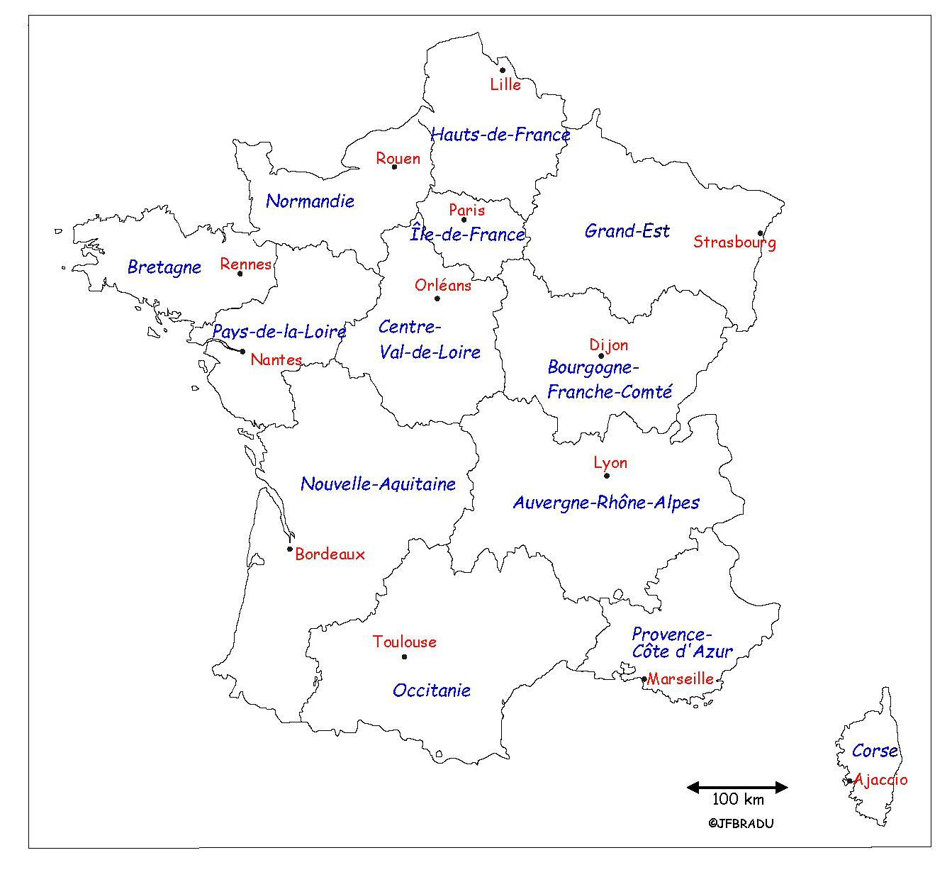 Fonds De Cartes France intérieur Carte Des Régions Et Départements De France À Imprimer