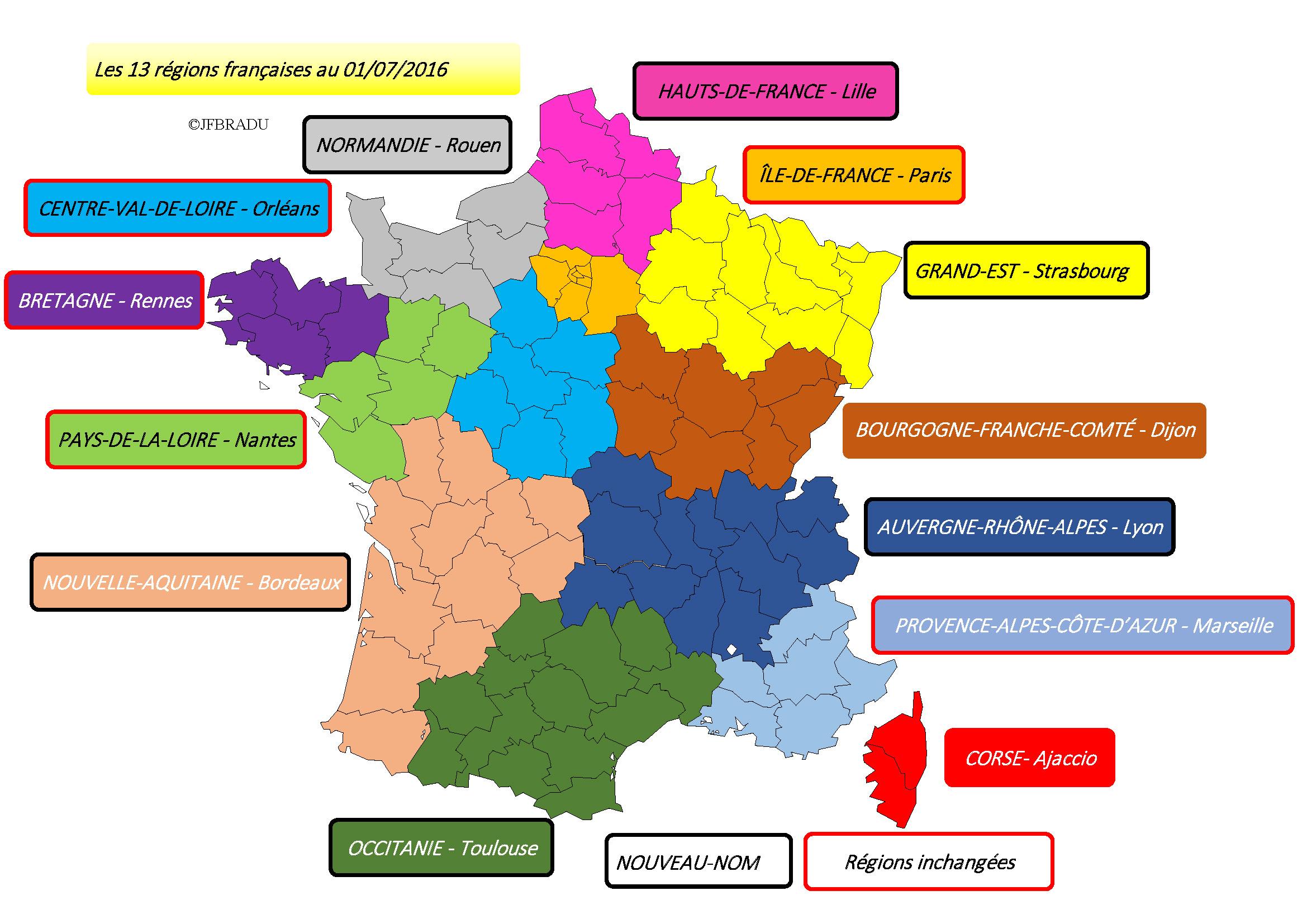 Fonds De Cartes France pour Nouvelles Régions De France