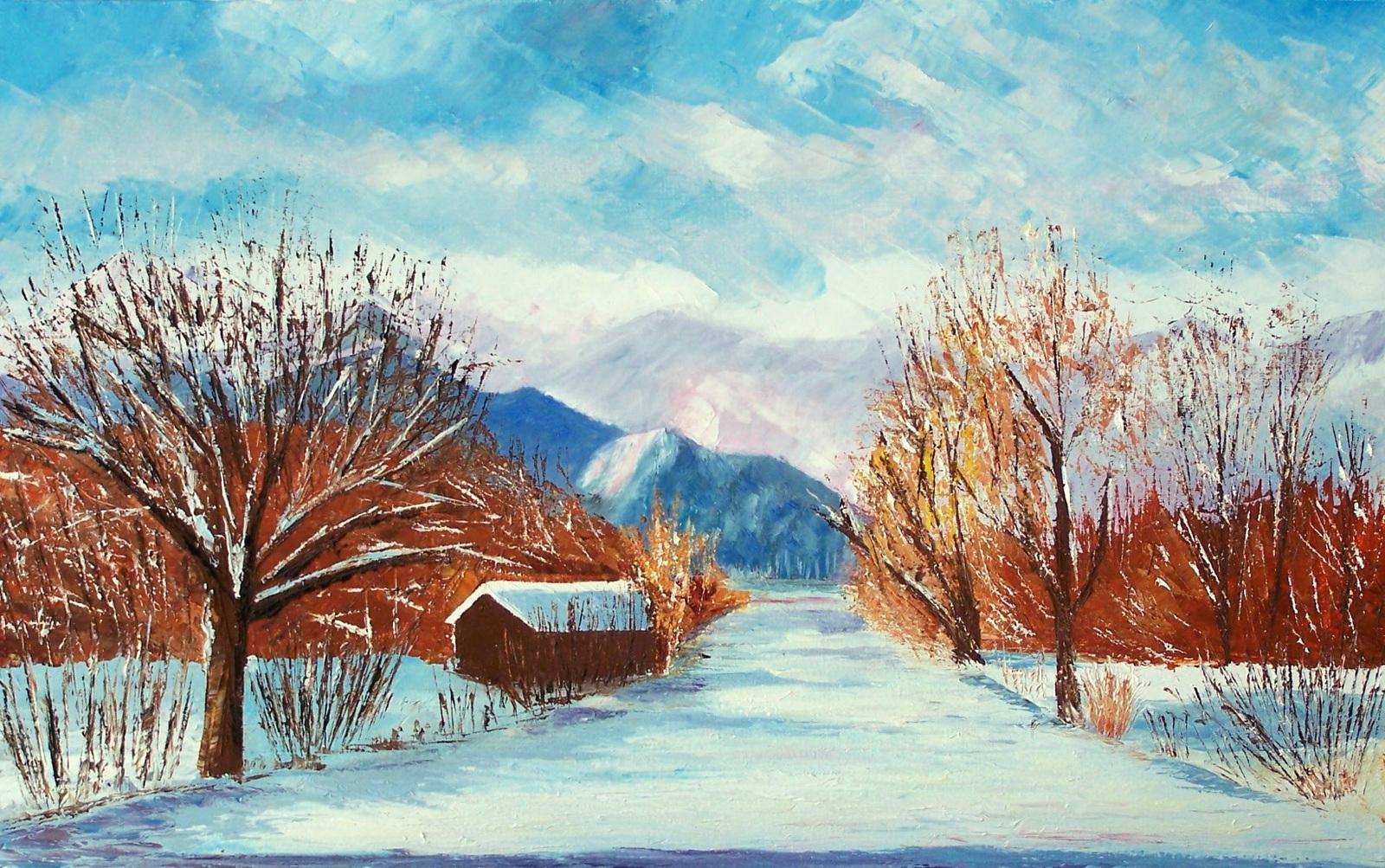 Fonds D'écran Hd: Paysage D'hiver Peinture avec Dessin De Paysage D Hiver