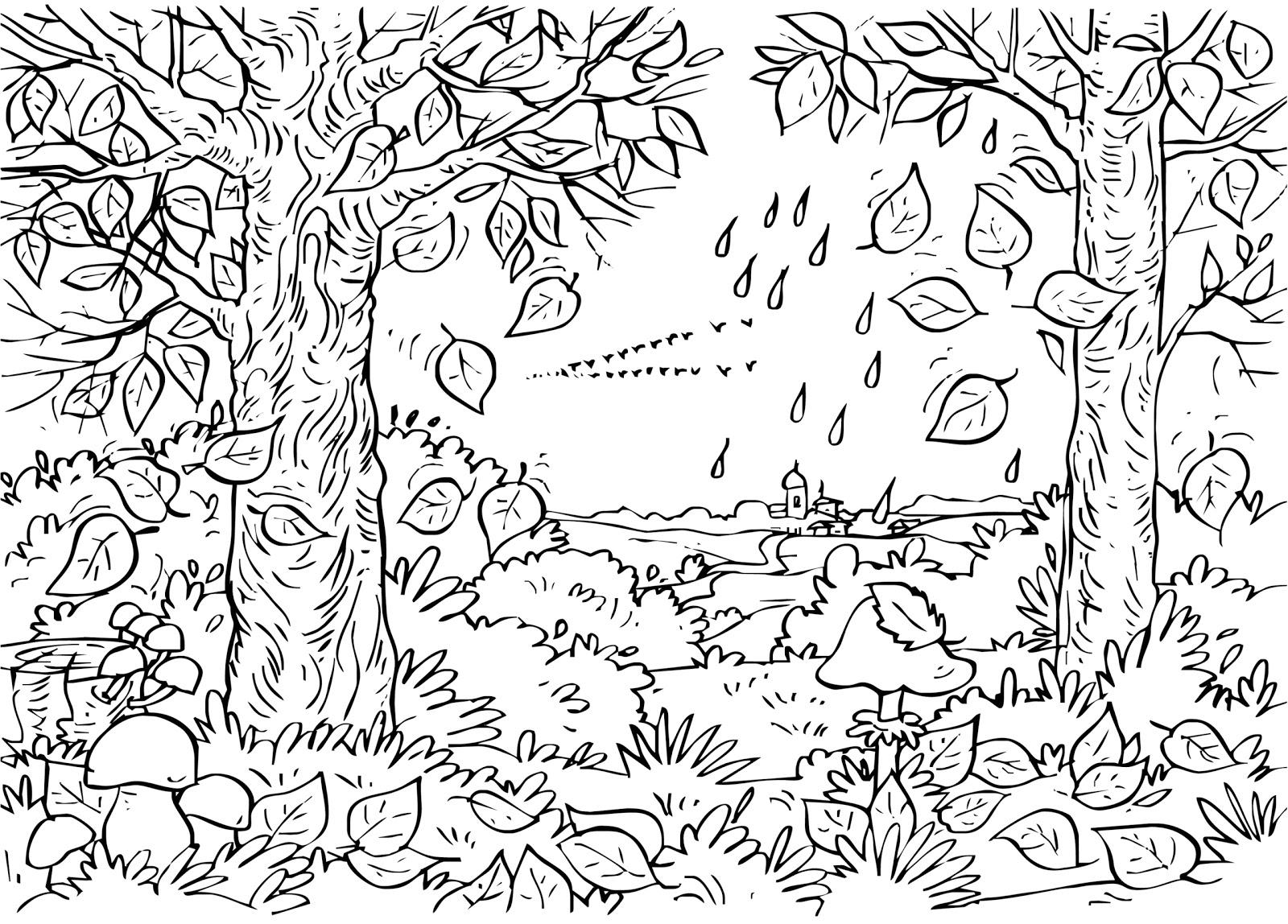 Forêt #32 (Nature) – Coloriages À Imprimer concernant Dessin De Foret