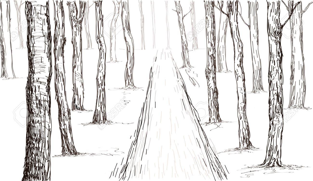 Forêt Dessin Esquisse Dans La Main Vecteur tout Dessin De Foret