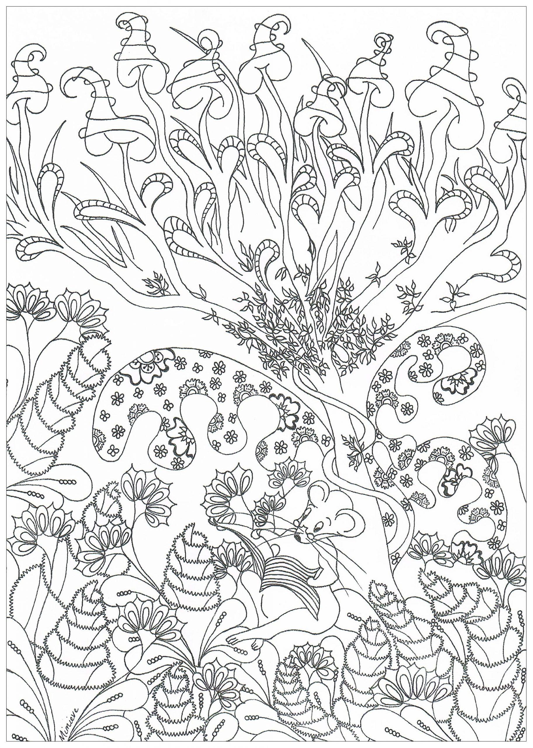 Forêt Enchantée - Jungle Et Forêt - Coloriages Difficiles pour Dessin De Foret