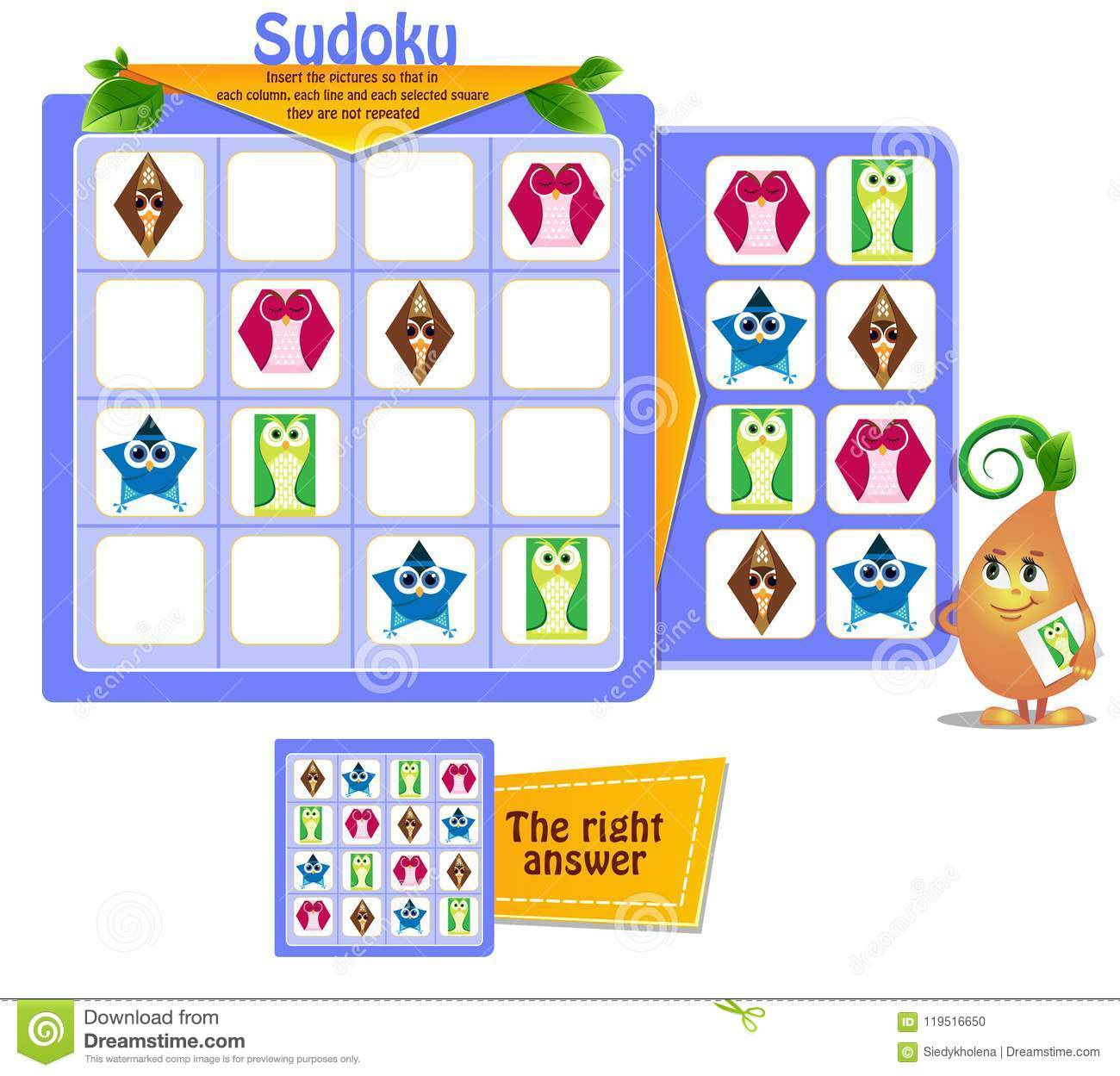Forme Le Sudoku De Hiboux De Jeu Illustration Stock concernant Jeu Le Sudoku