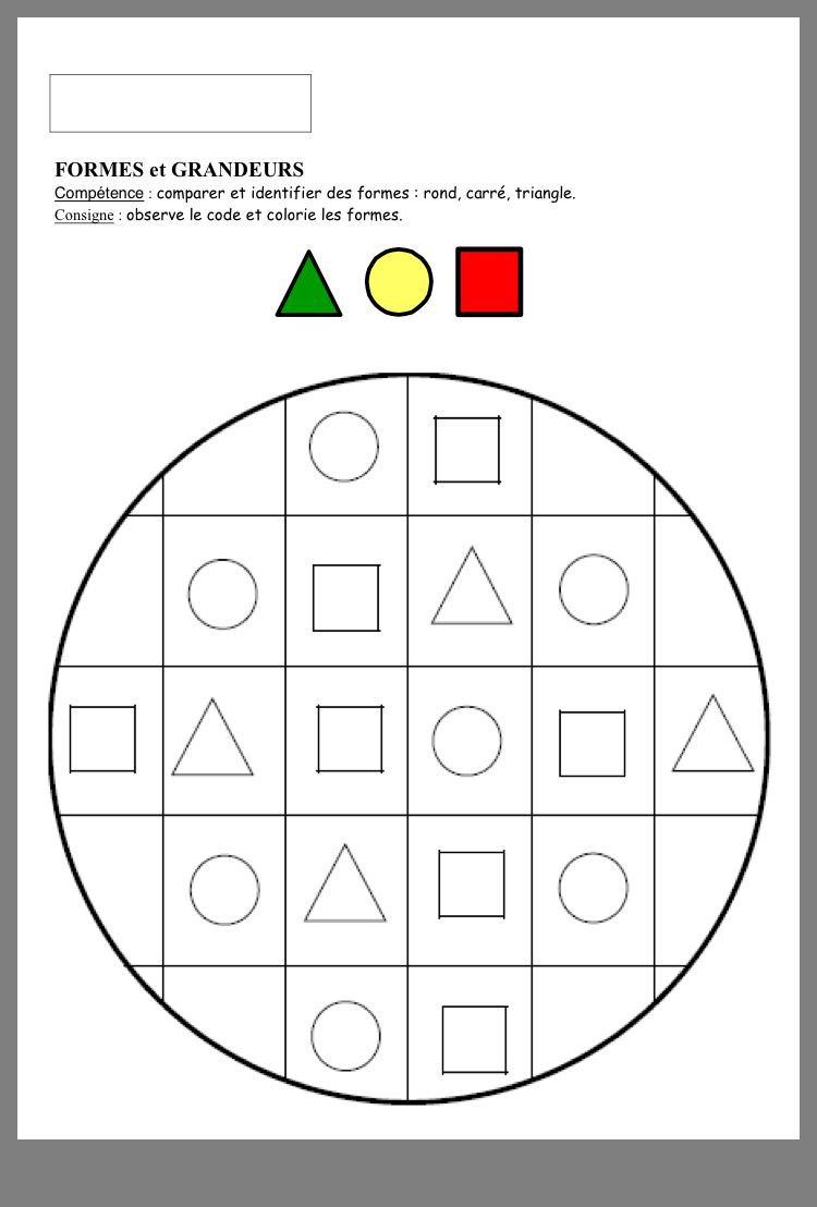 Formes Géométriques | Apprentissage Des Formes, Fiches De destiné Exercice Maternelle Petite Section Gratuit En Ligne