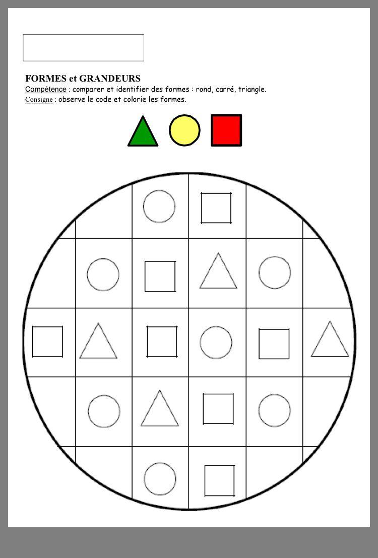 Formes Géométriques   Apprentissage Des Formes, Fiches De destiné Jeux Educatif Gs