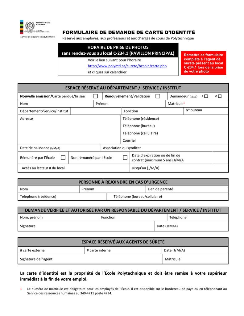 Formulaire De Demande De Carte D`identité Horaire pour Carte Departement Numero
