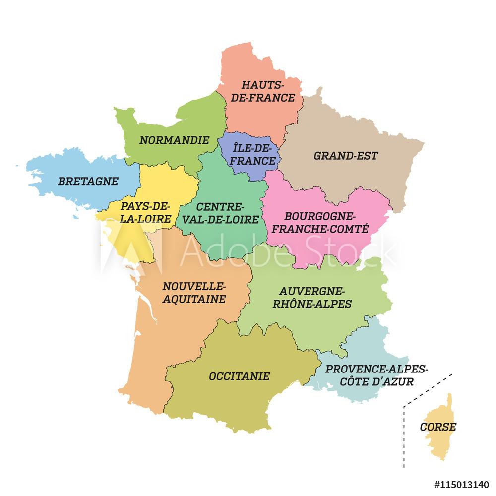 Fotografia Carte De France Métropolitaine / Nouvelles à Nouvelles Régions De France