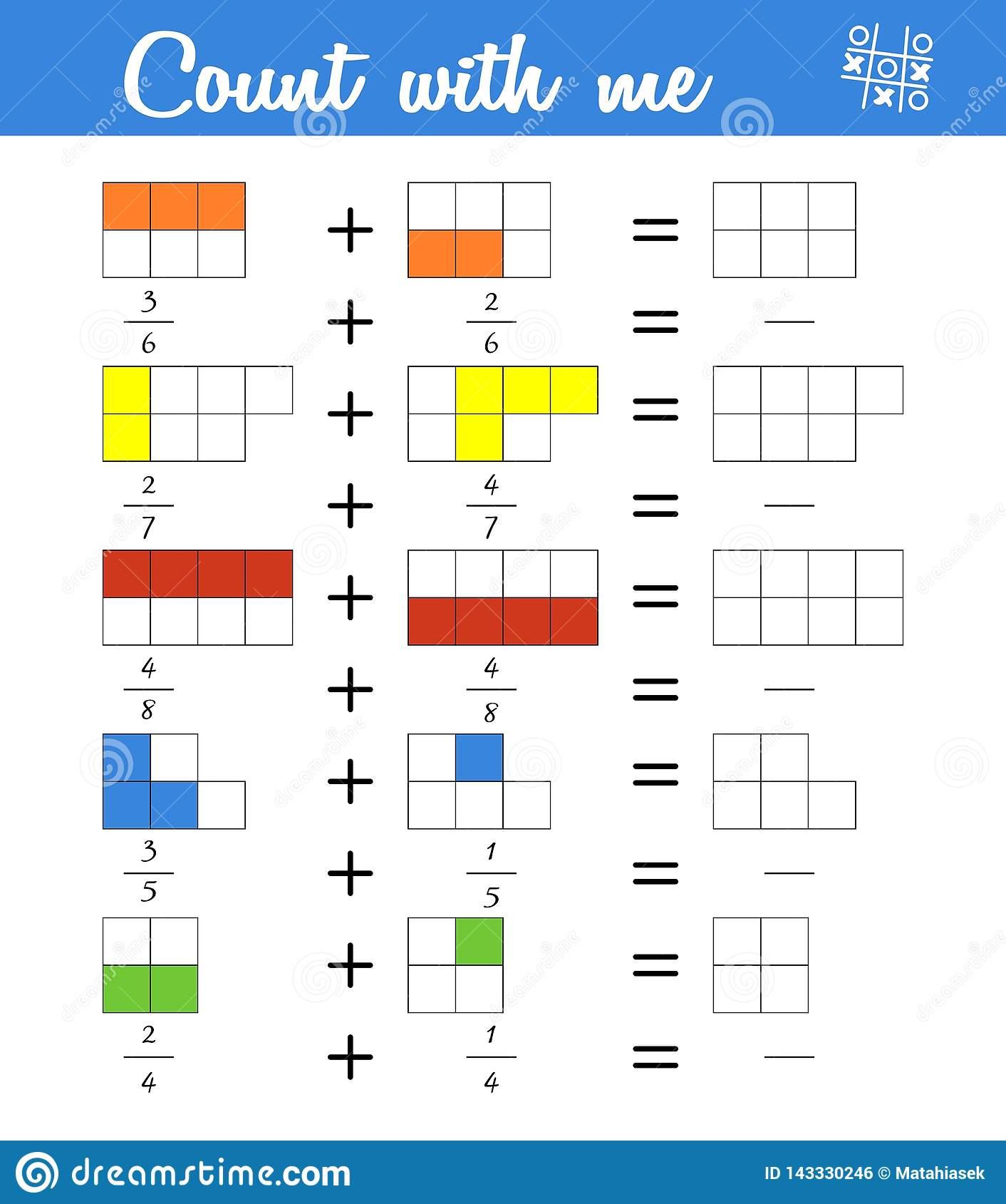 Fractions Compte Du Jeu Pour Les Enfants Préscolaires pour Jeux De Matematique