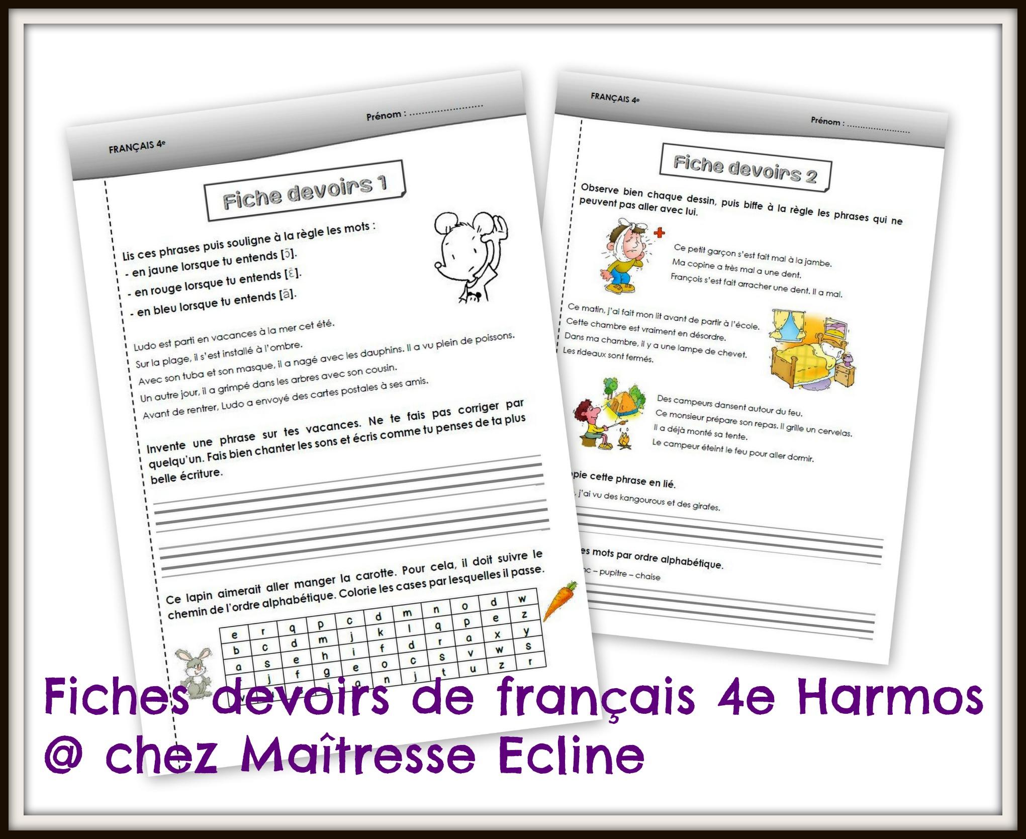 Français 4E Harmos (Ce1) - Chez Maîtresse Ecline destiné Fiche Français Ce1 Imprimer