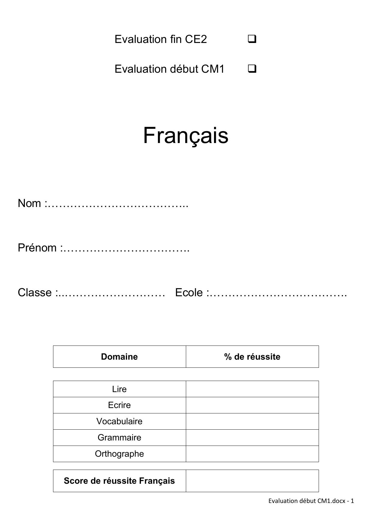 Français avec Évaluation Cm1 Symétrie