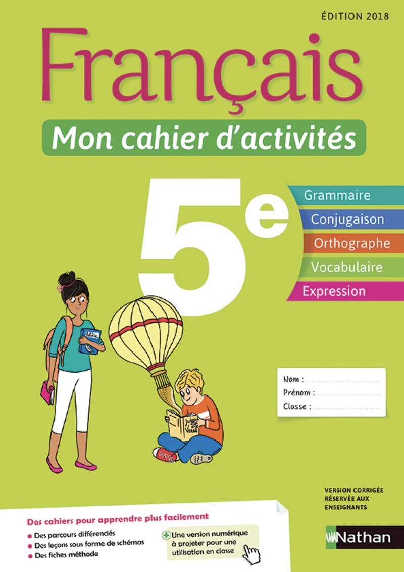 Français - Mon Cahier D'activités - 5E - Cahier De L'élève pour Cahier De Vacances Gratuit En Ligne
