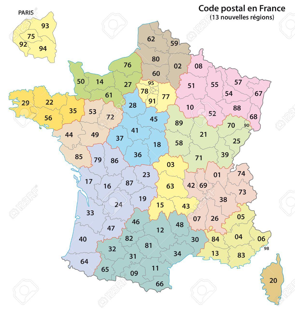 France 2-Digit Postcodes Map 2017 (13 Regions) serapportantà Les 13 Régions
