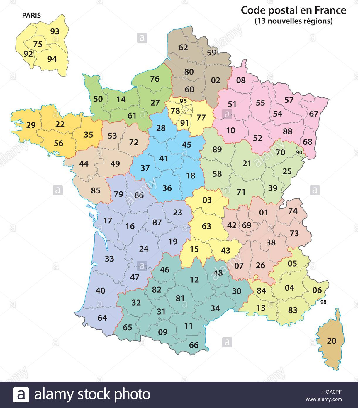 France 2-Digit Postcodes Map 2017 (13 Regions Stock Vector pour 13 Régions Françaises