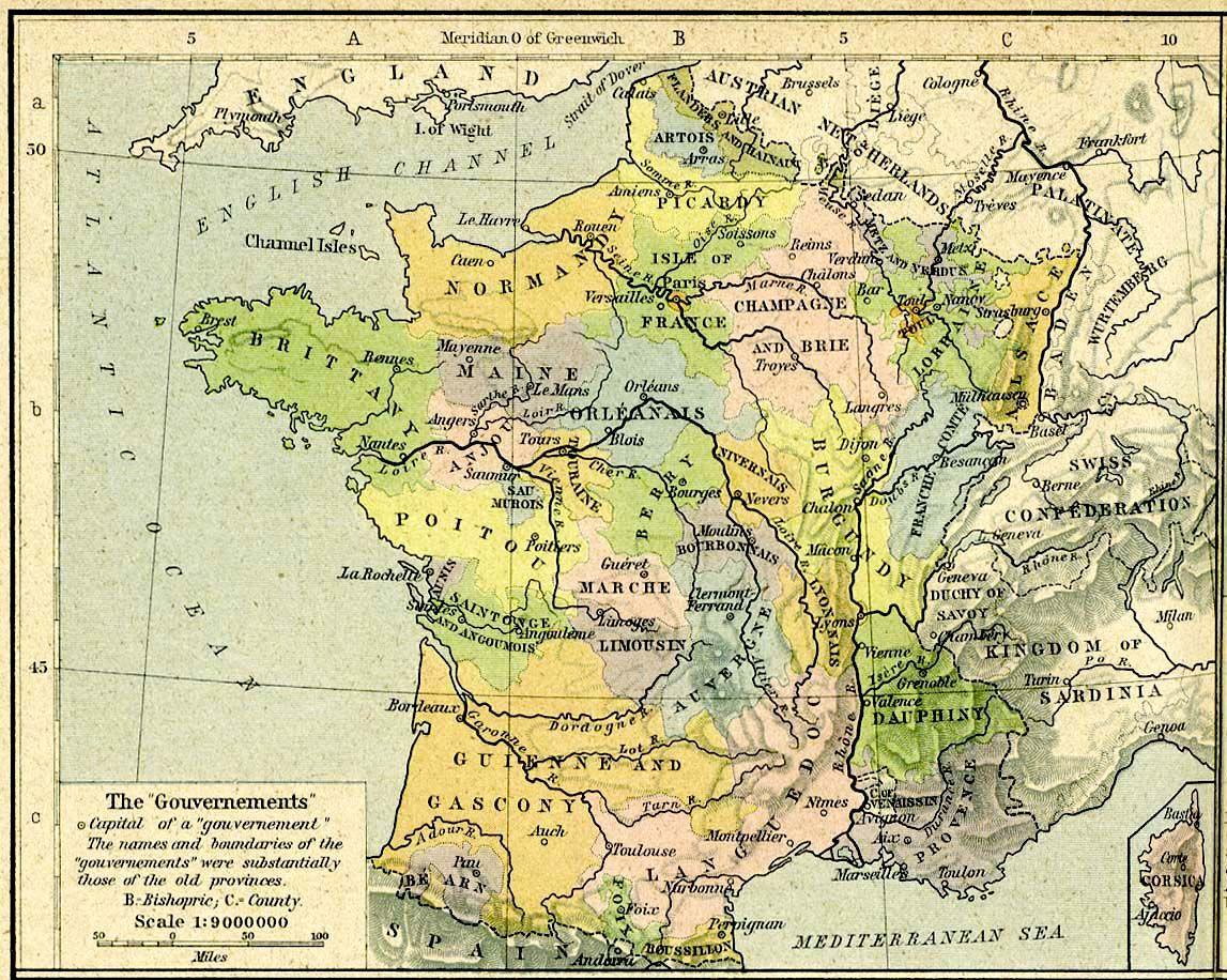 France Anciennes Provinces 1789 - Anciennes Provinces De dedans Anciennes Régions