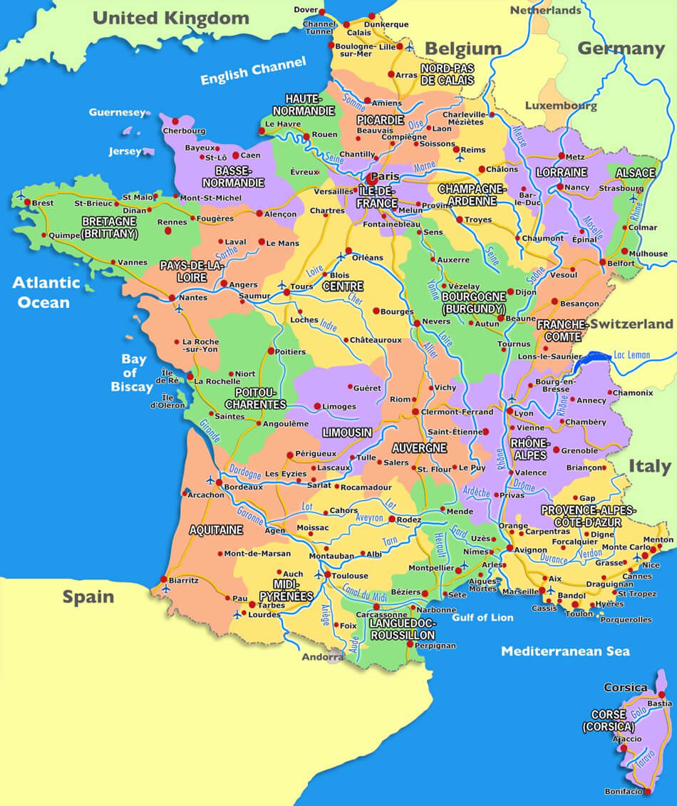 France Carte avec Carte France Avec Region