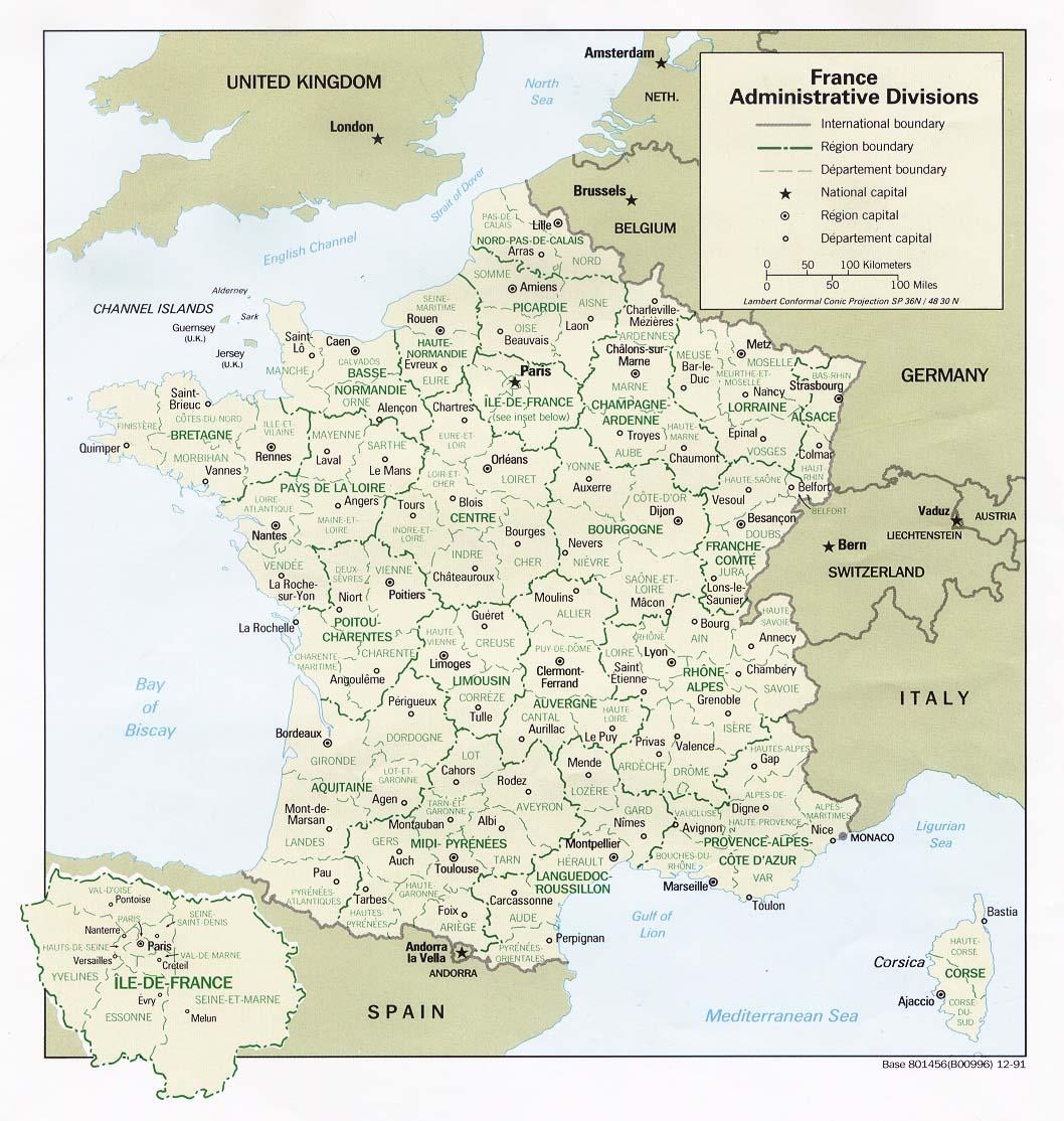 France - Carte De France concernant Carte De France Avec Départements Et Préfectures
