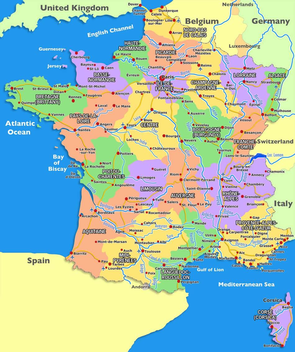 France Carte dedans Carte De France Grande Ville