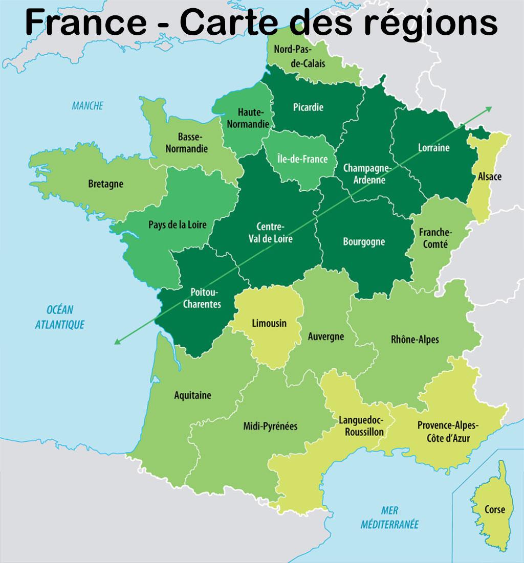 France Carte Des Régions - Voyages - Cartes encequiconcerne Carte Des Régions De France 2016