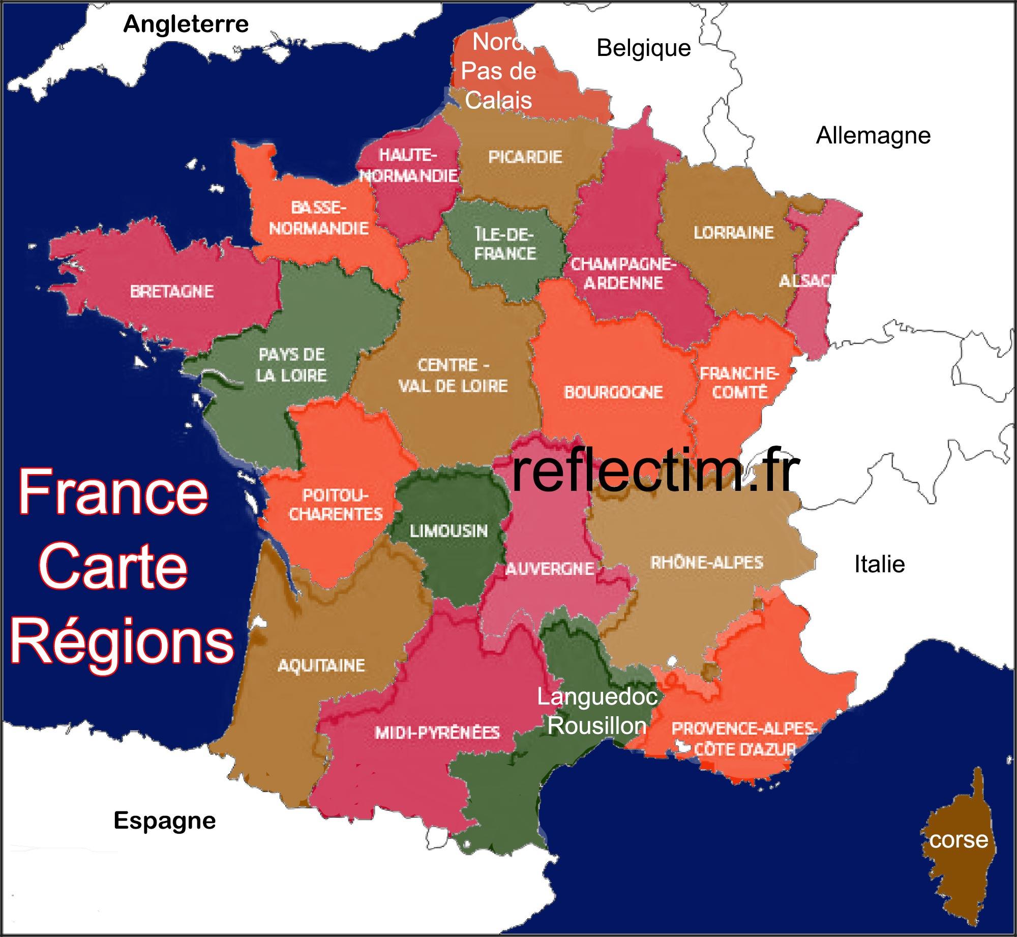 France Carte Région - Voyages - Cartes avec Carte Des Régions Françaises