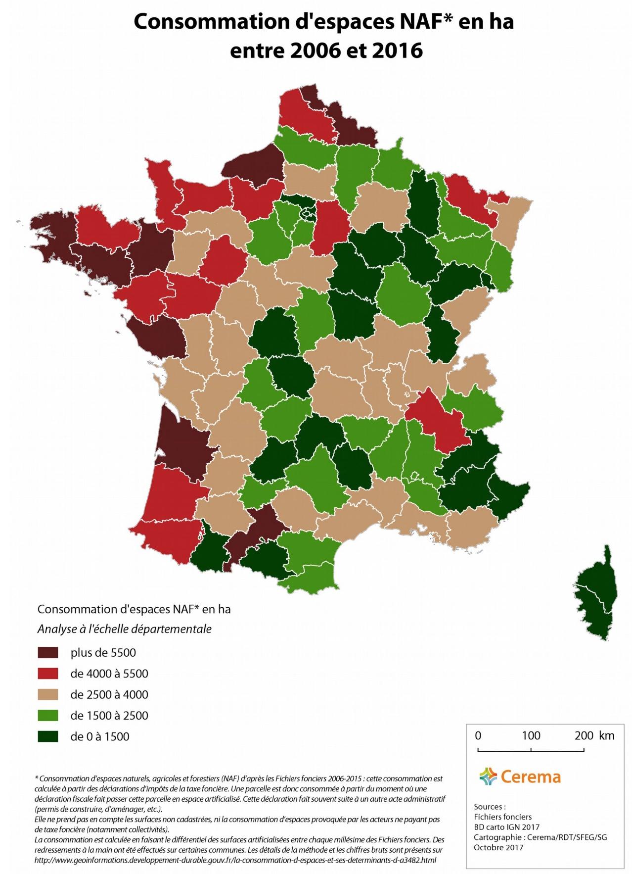France - Consommation D'espaces Naturels, Agricoles Et à Carte Des Départements De France 2017